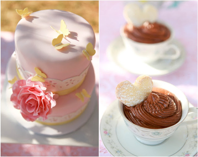 pink cake and pudding in tea cup
