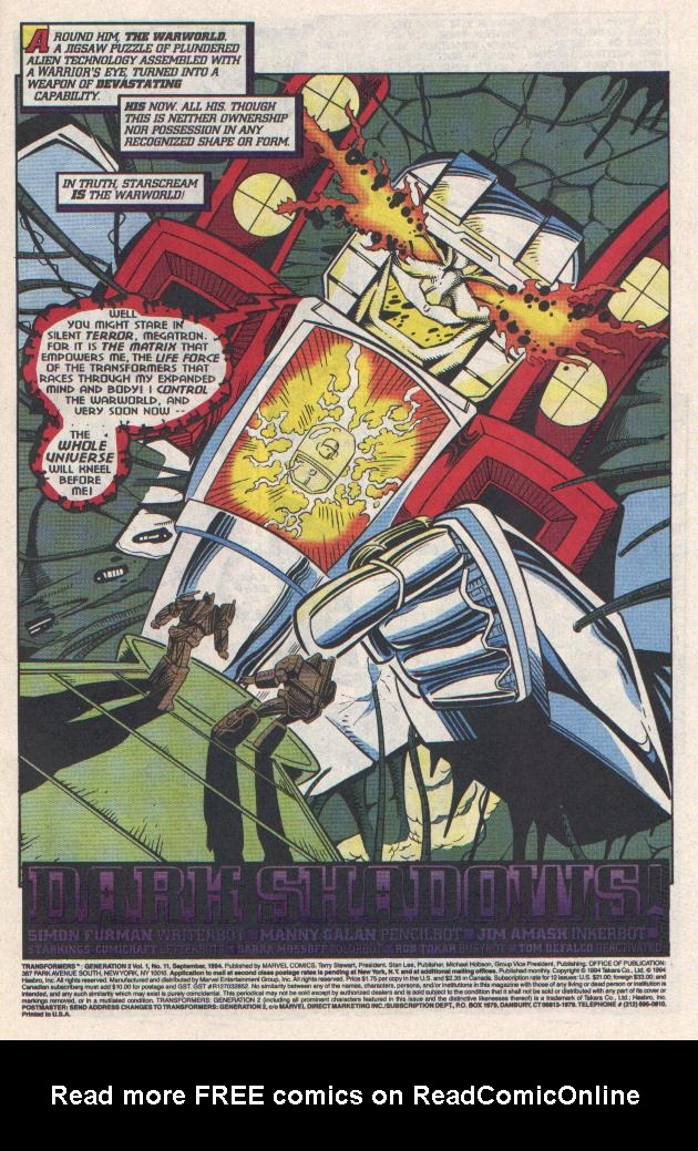 Read online Transformers: Generation 2 comic -  Issue #11 - 2