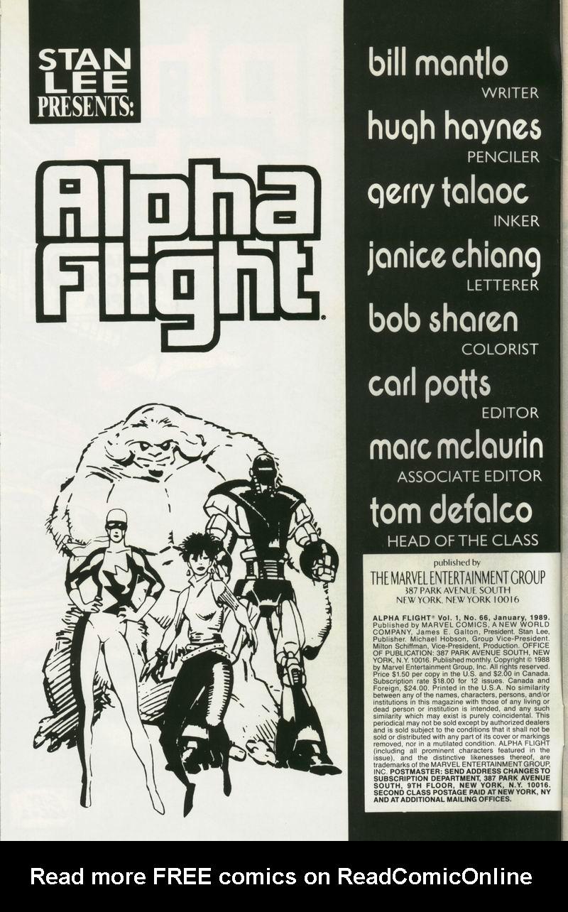 Read online Alpha Flight (1983) comic -  Issue #66 - 2