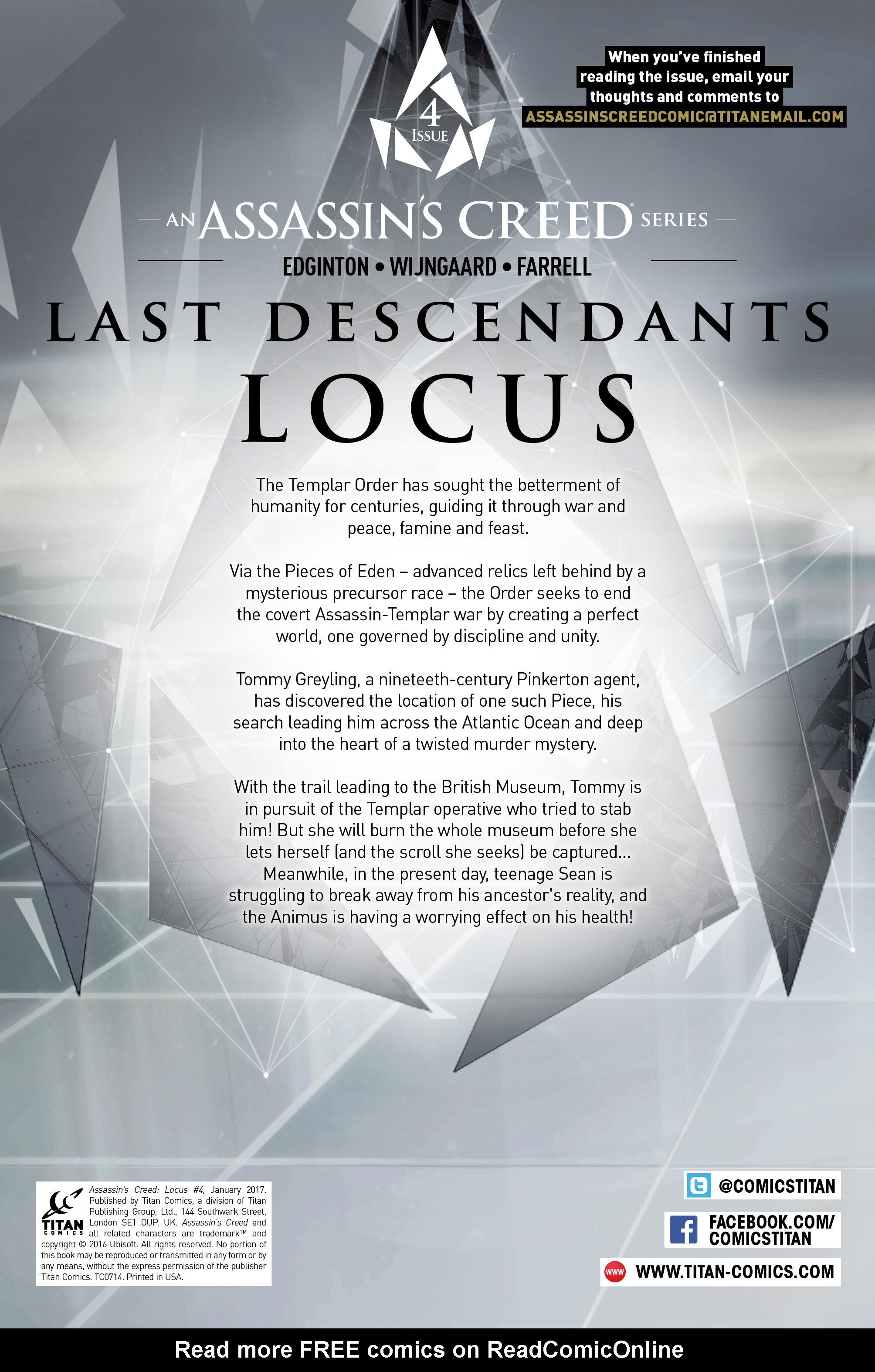 Read online Assassin's Creed: Locus comic -  Issue #4 - 4