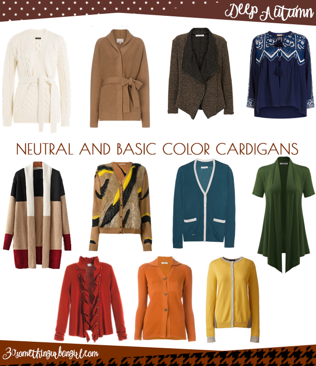 Wardrobe Essential: Neutral and basic color cardigans for Deep Autumn women by 30somethingurbangirl.com