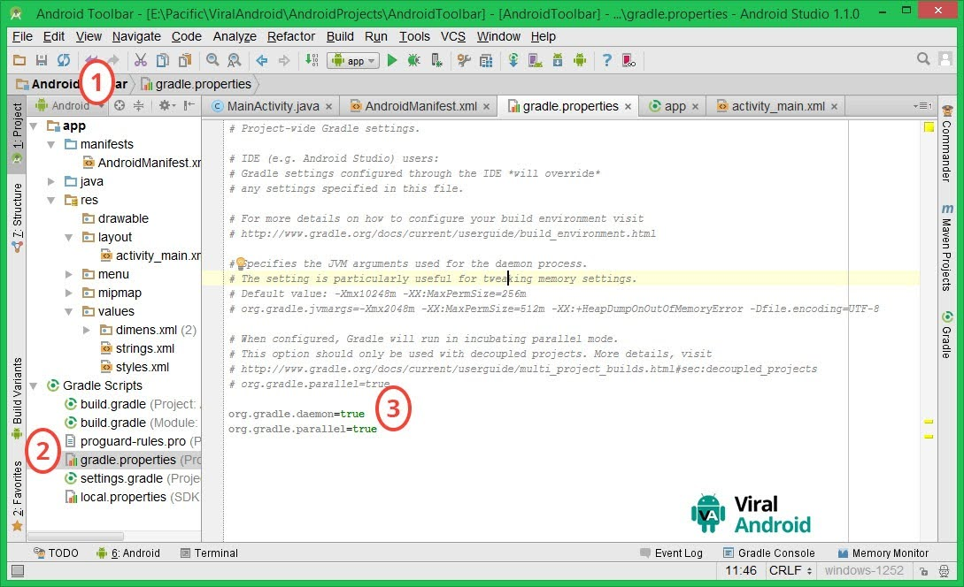 Android Studio Setting- gradle.properties file
