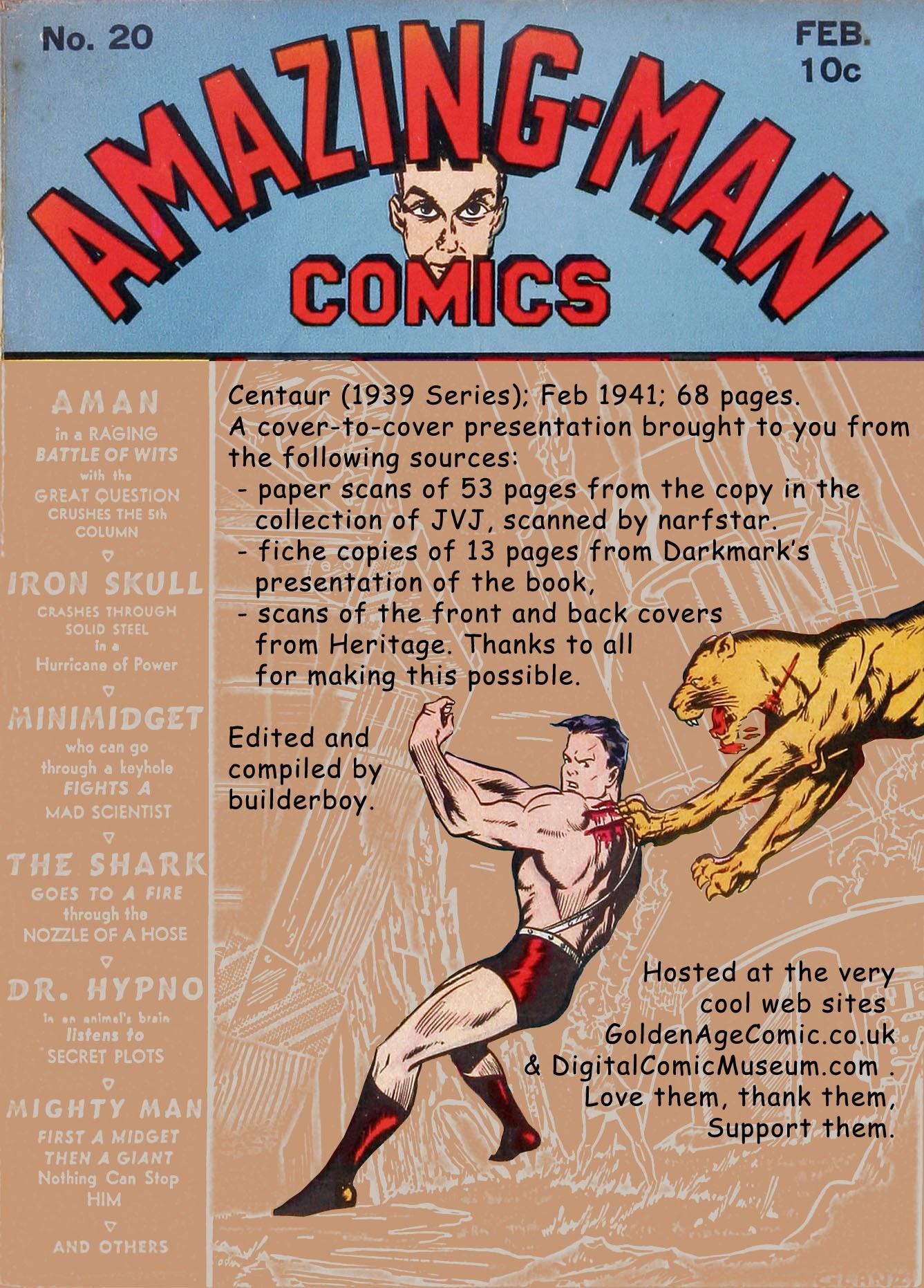 Read online Amazing Man Comics comic -  Issue #20 - 1