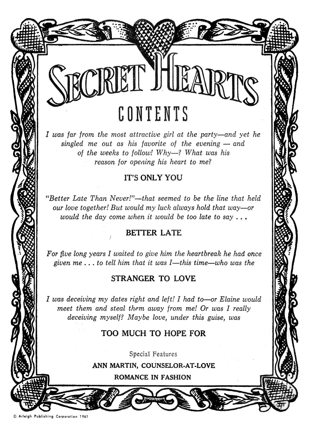 Read online Secret Hearts comic -  Issue #76 - 2