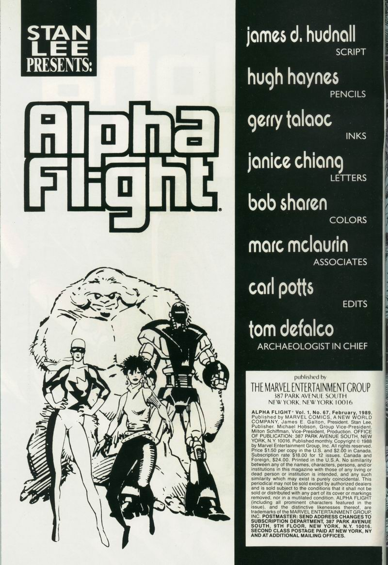 Read online Alpha Flight (1983) comic -  Issue #67 - 2