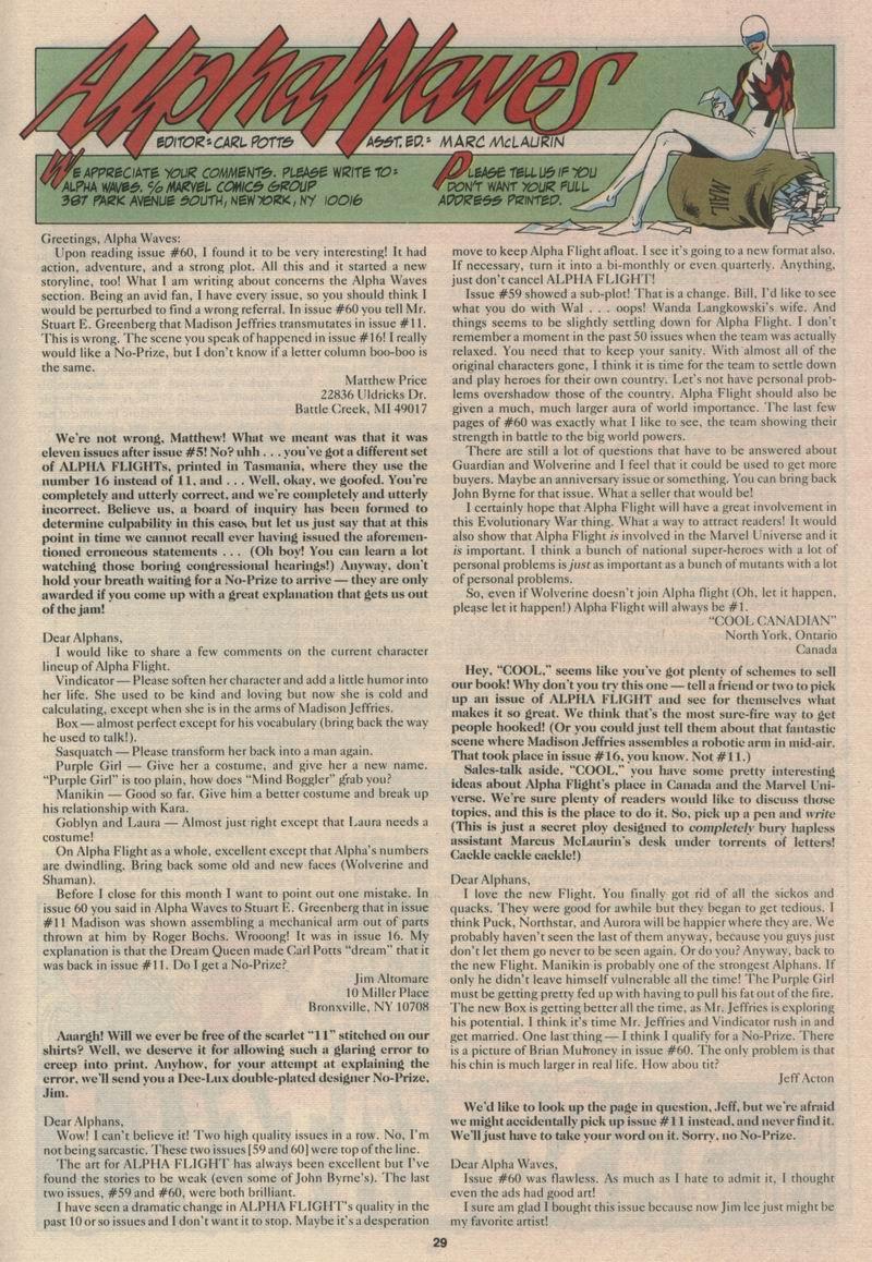 Read online Alpha Flight (1983) comic -  Issue #63 - 31