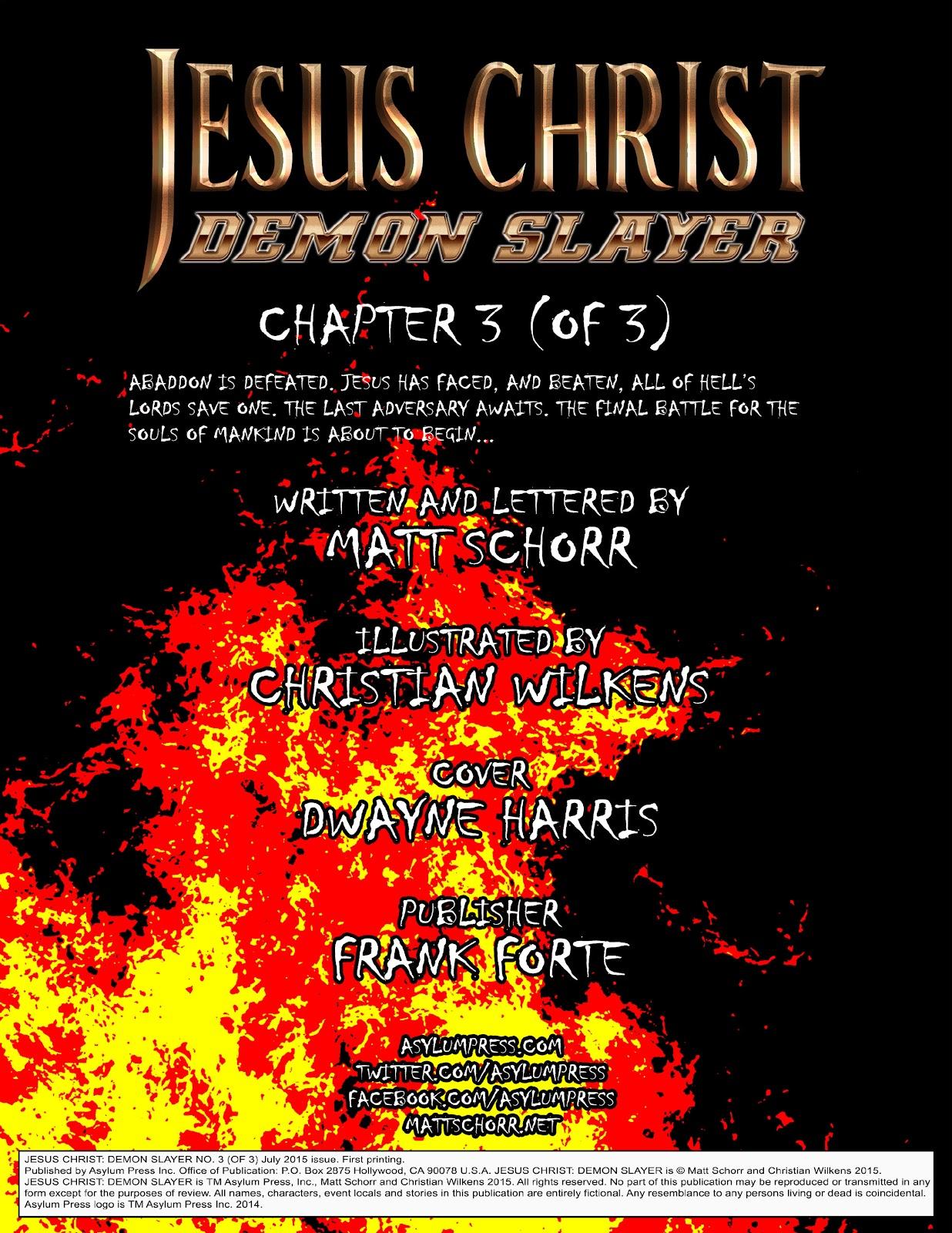 Comic Jesus Christ Demon Slayer issue 3