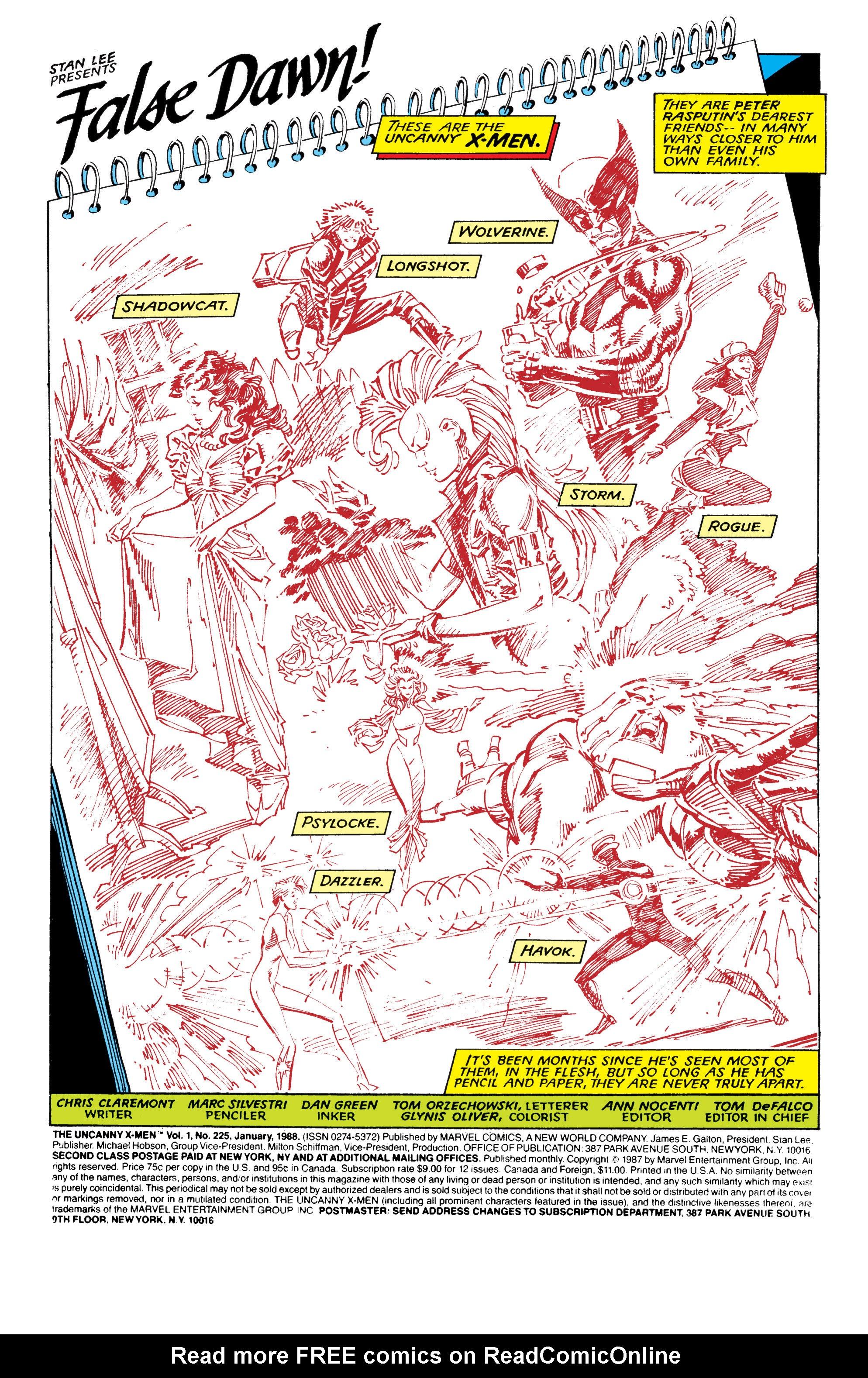 Read online Uncanny X-Men (1963) comic -  Issue #225 - 2