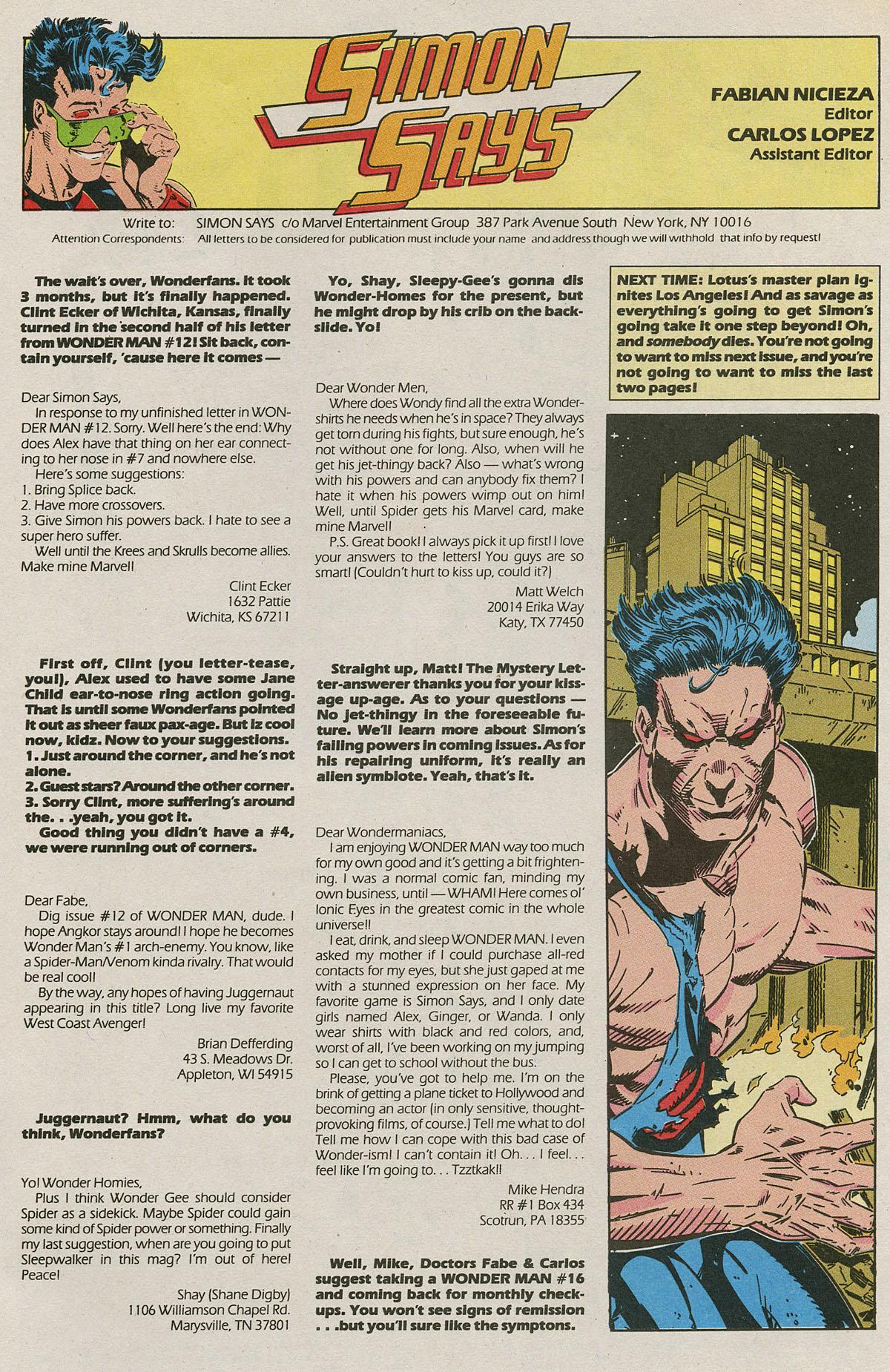 Read online Wonder Man (1991) comic -  Issue #15 - 22