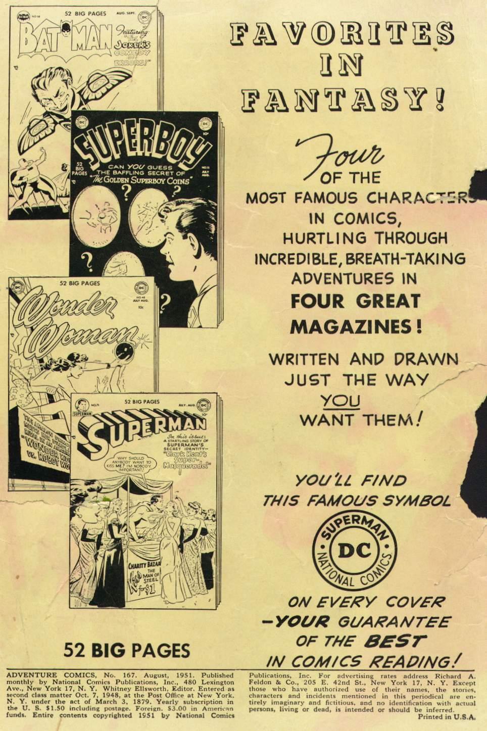 Read online Adventure Comics (1938) comic -  Issue #167 - 2
