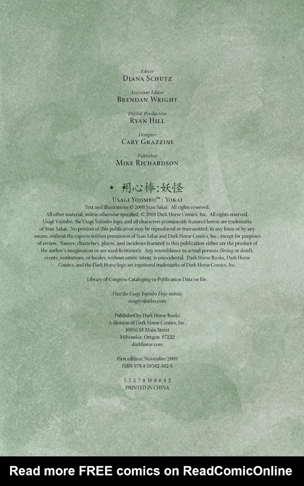 Read online Usagi Yojimbo: Yokai comic -  Issue # Full - 57