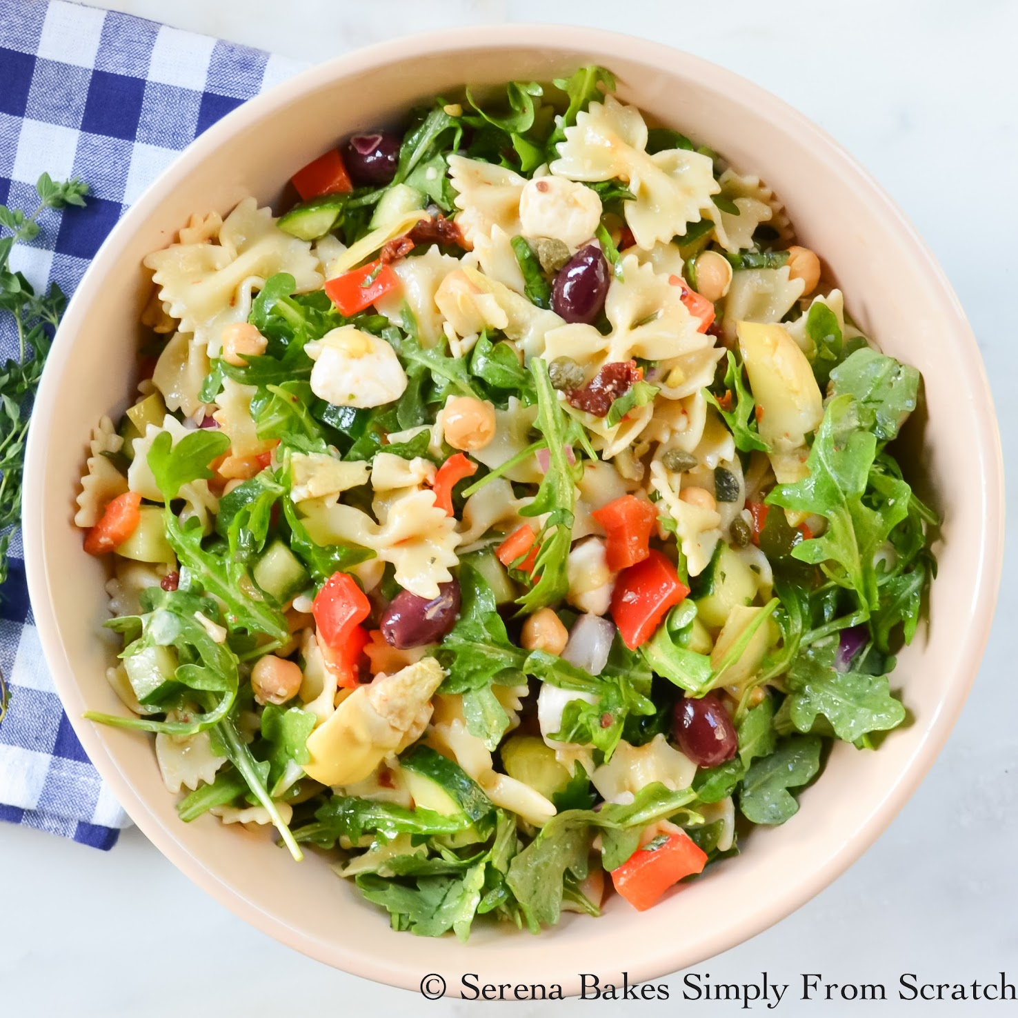 Mediterranean Pasta Salad is the perfect dish for picnics, potlucks and road trips!