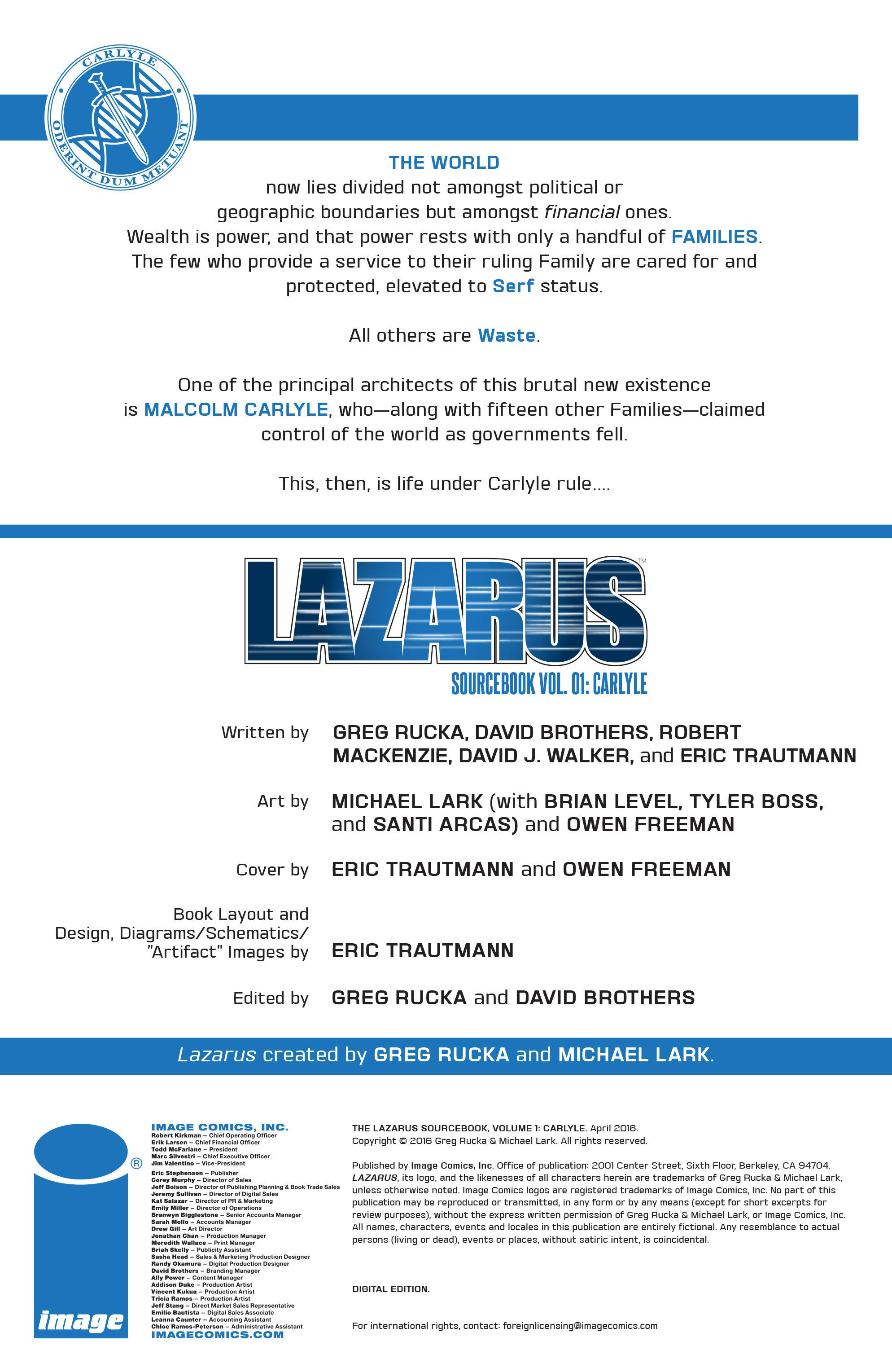 Read online Lazarus Sourcebook comic -  Issue # Vol. 1 - 2