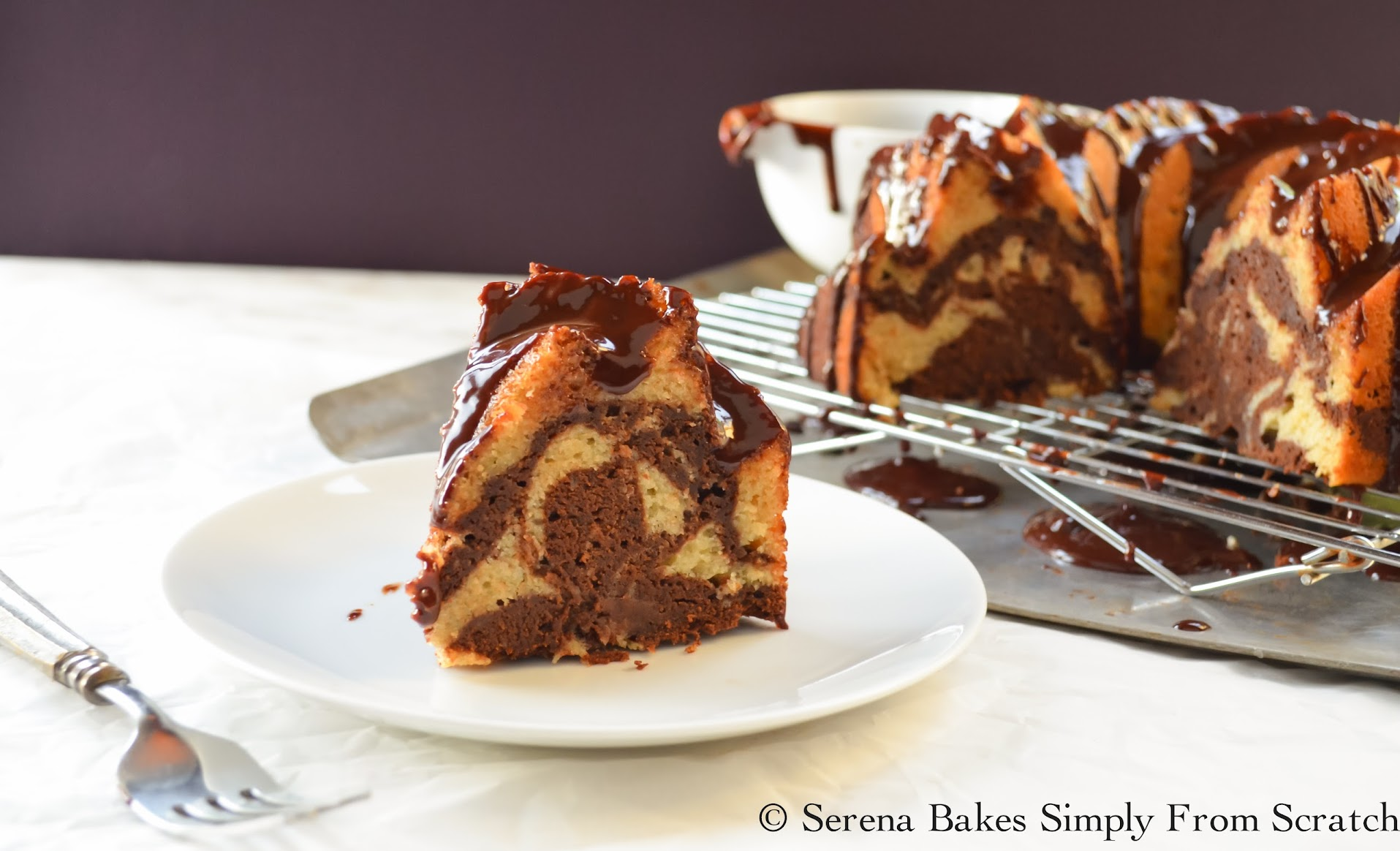 Buttermilk Marble Bundt Cake With Chocolate Cake is perfect for company.