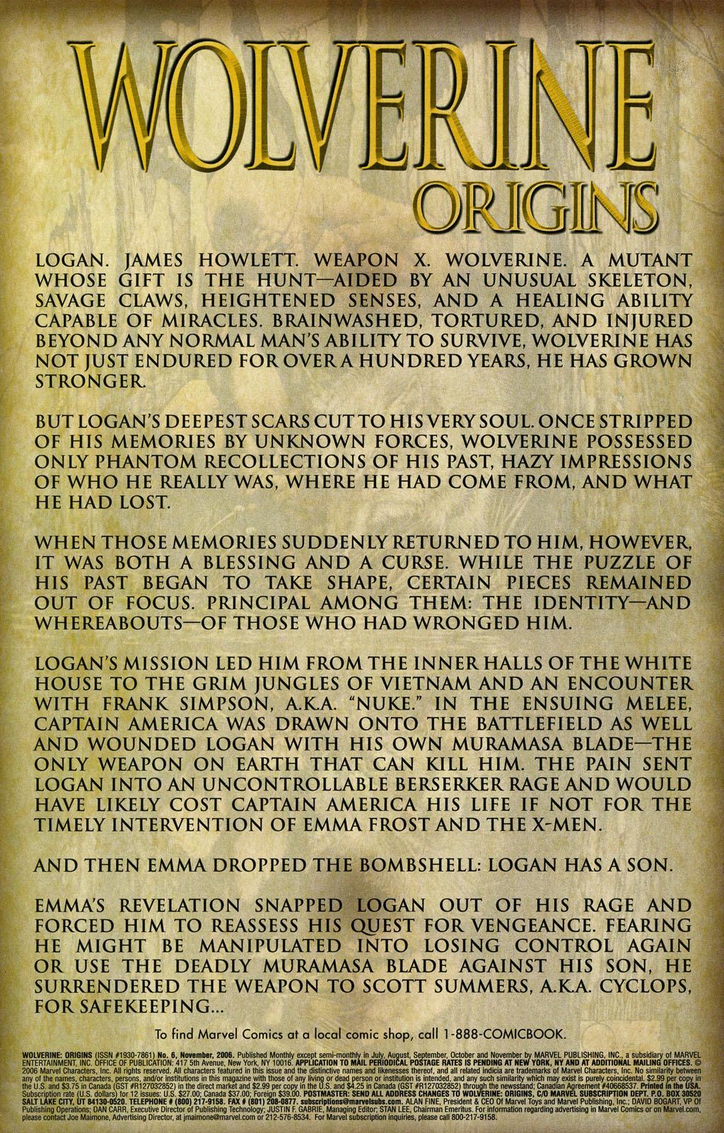 Read online Wolverine: Origins comic -  Issue #6 - 2
