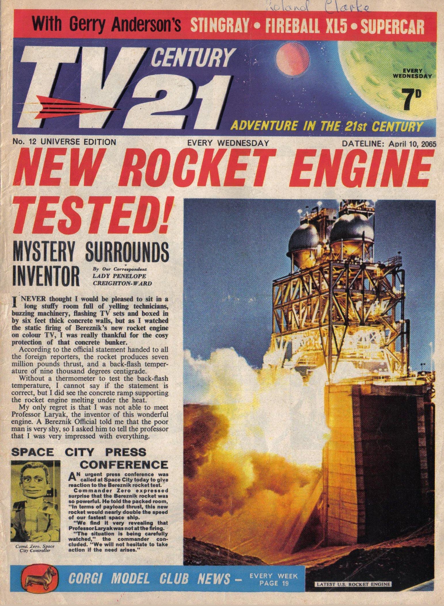 Read online TV Century 21 (TV 21) comic -  Issue #12 - 1