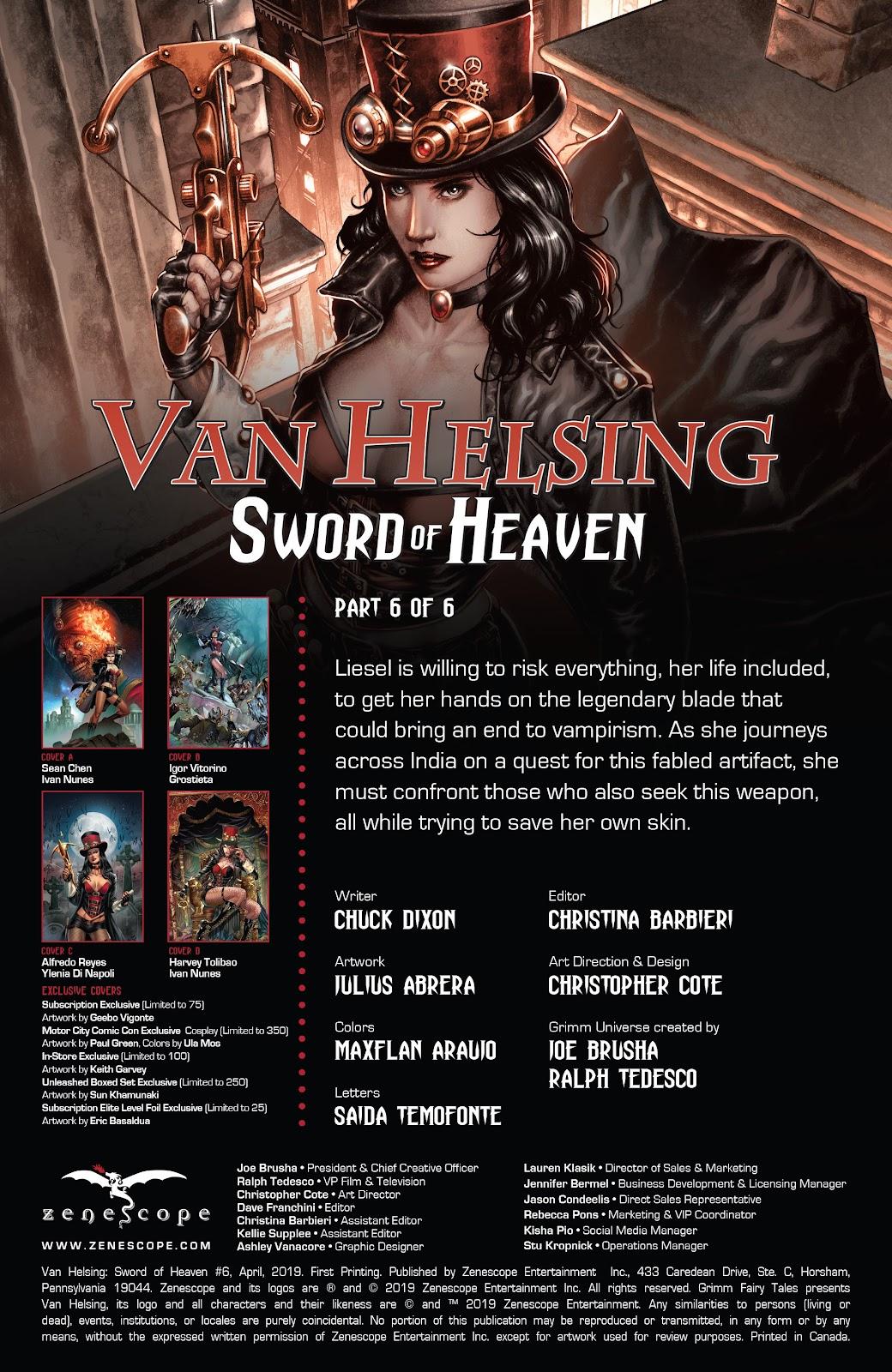 Read online Van Helsing: Sword of Heaven comic -  Issue #6 - 2