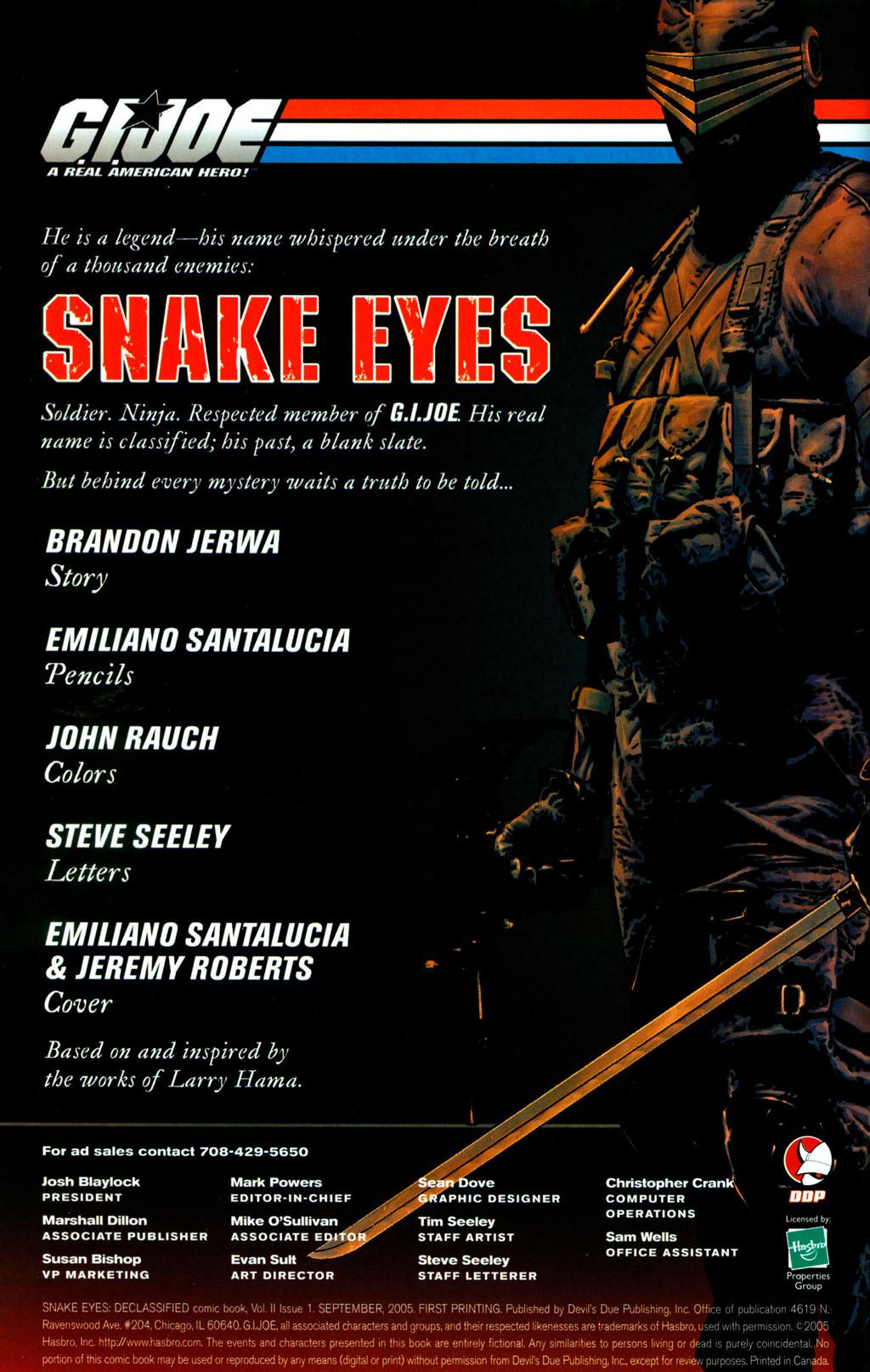 Read online Snake Eyes: Declassified comic -  Issue #1 - 2
