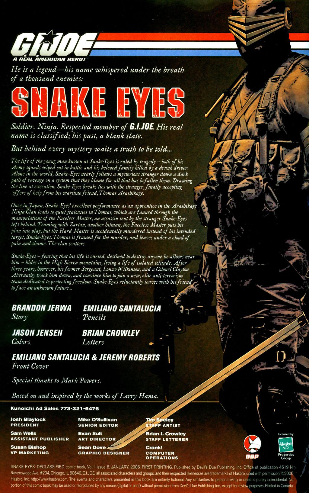 Read online Snake Eyes: Declassified comic -  Issue #6 - 2