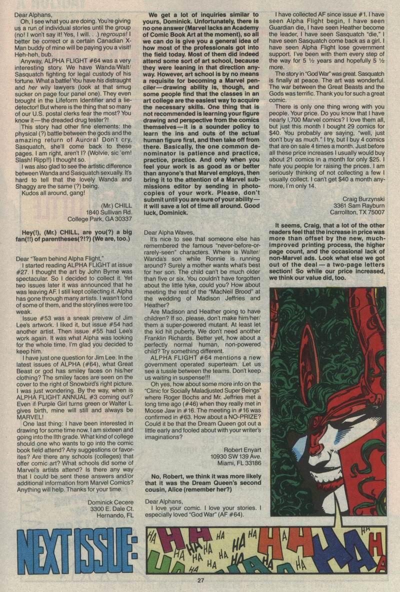 Read online Alpha Flight (1983) comic -  Issue #68 - 29