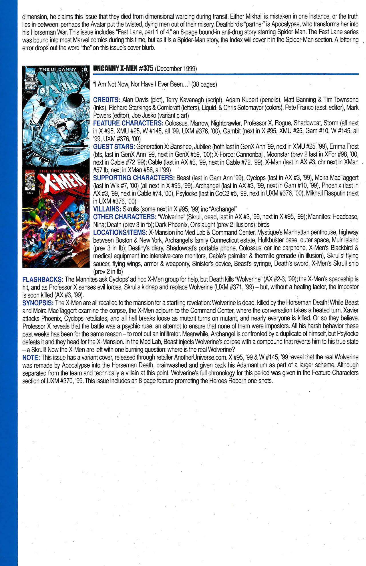 Read online Official Index to the Marvel Universe comic -  Issue #9 - 66