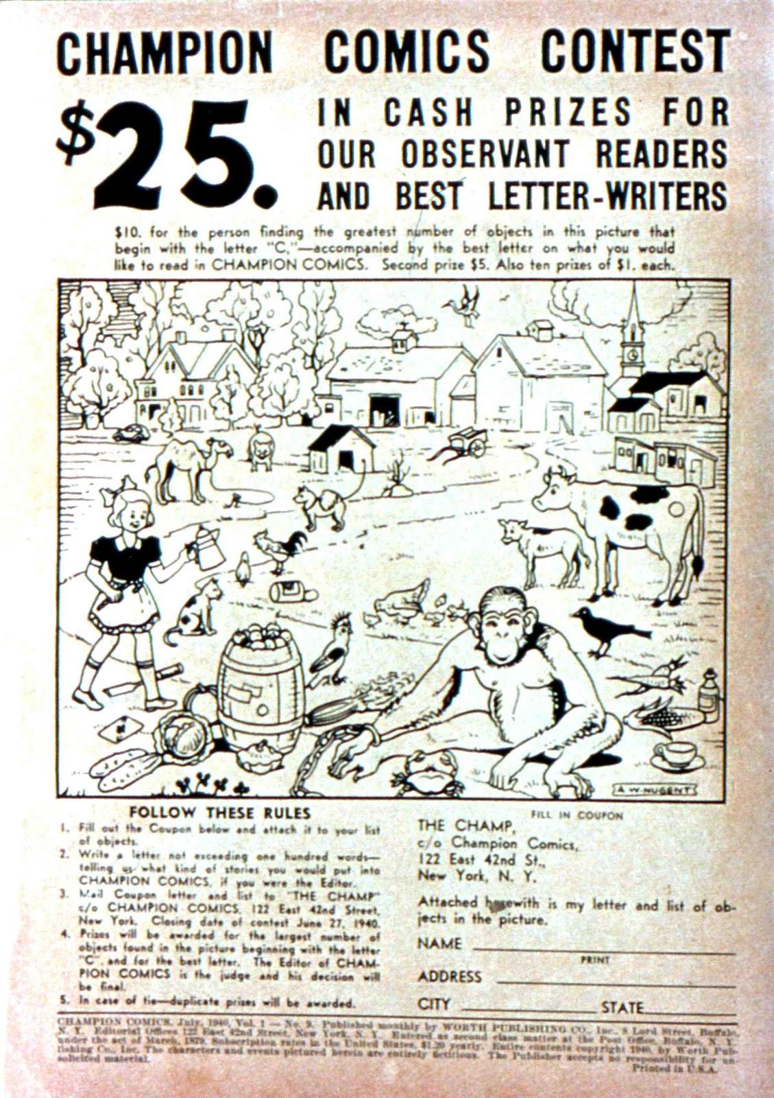 Champion Comics issue 9 - Page 1