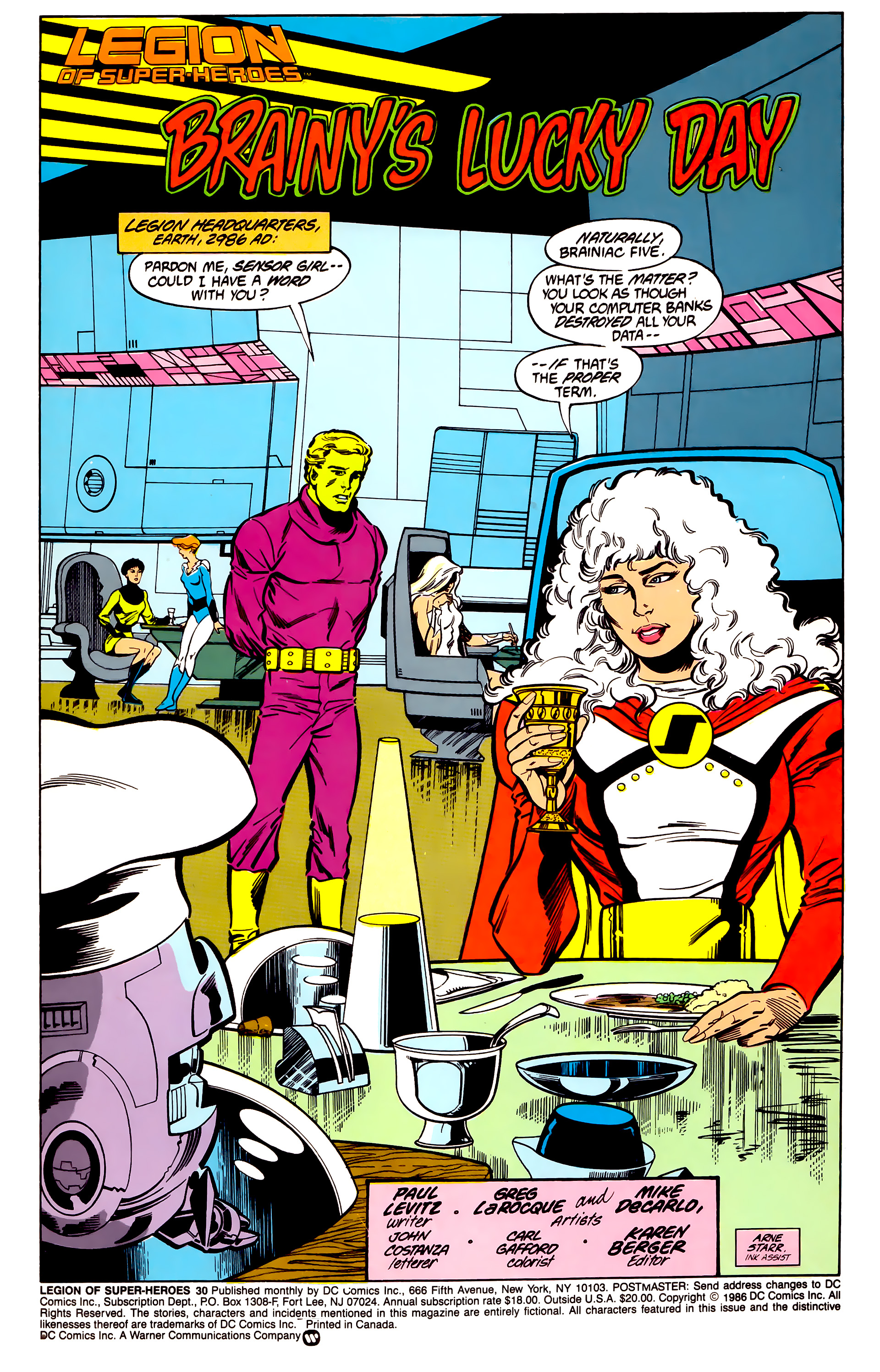 Legion of Super-Heroes (1984) 30 Page 1