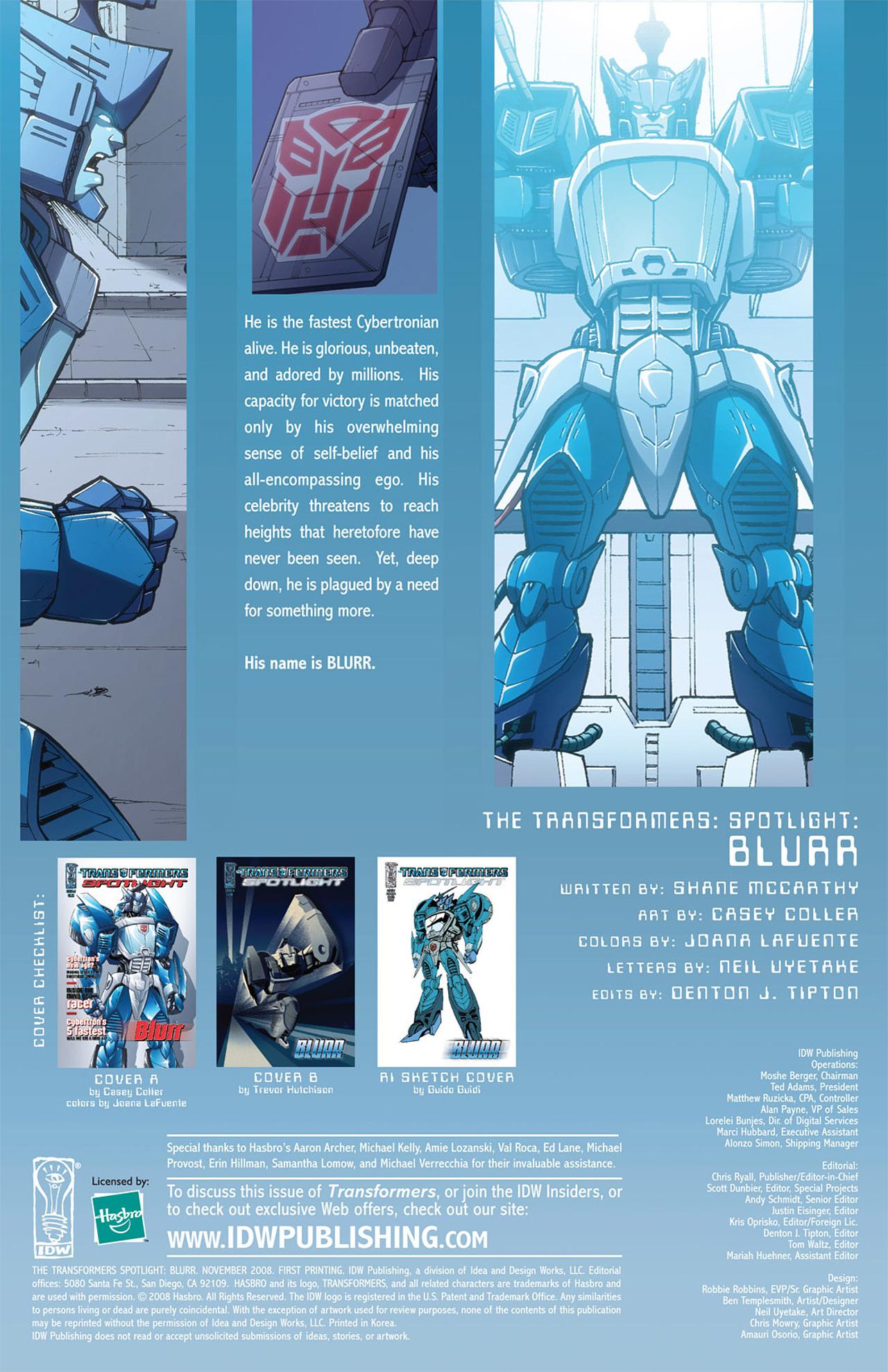 Read online Transformers Spotlight: Blurr comic -  Issue # Full - 4
