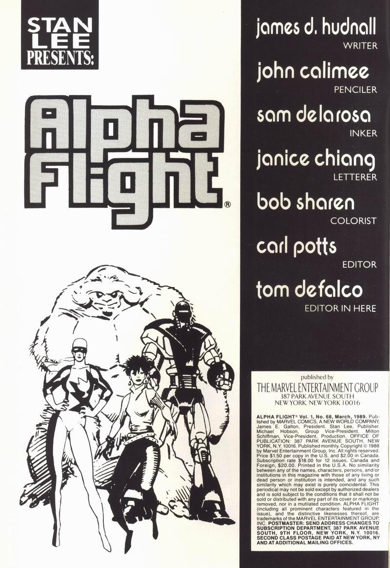 Read online Alpha Flight (1983) comic -  Issue #68 - 2