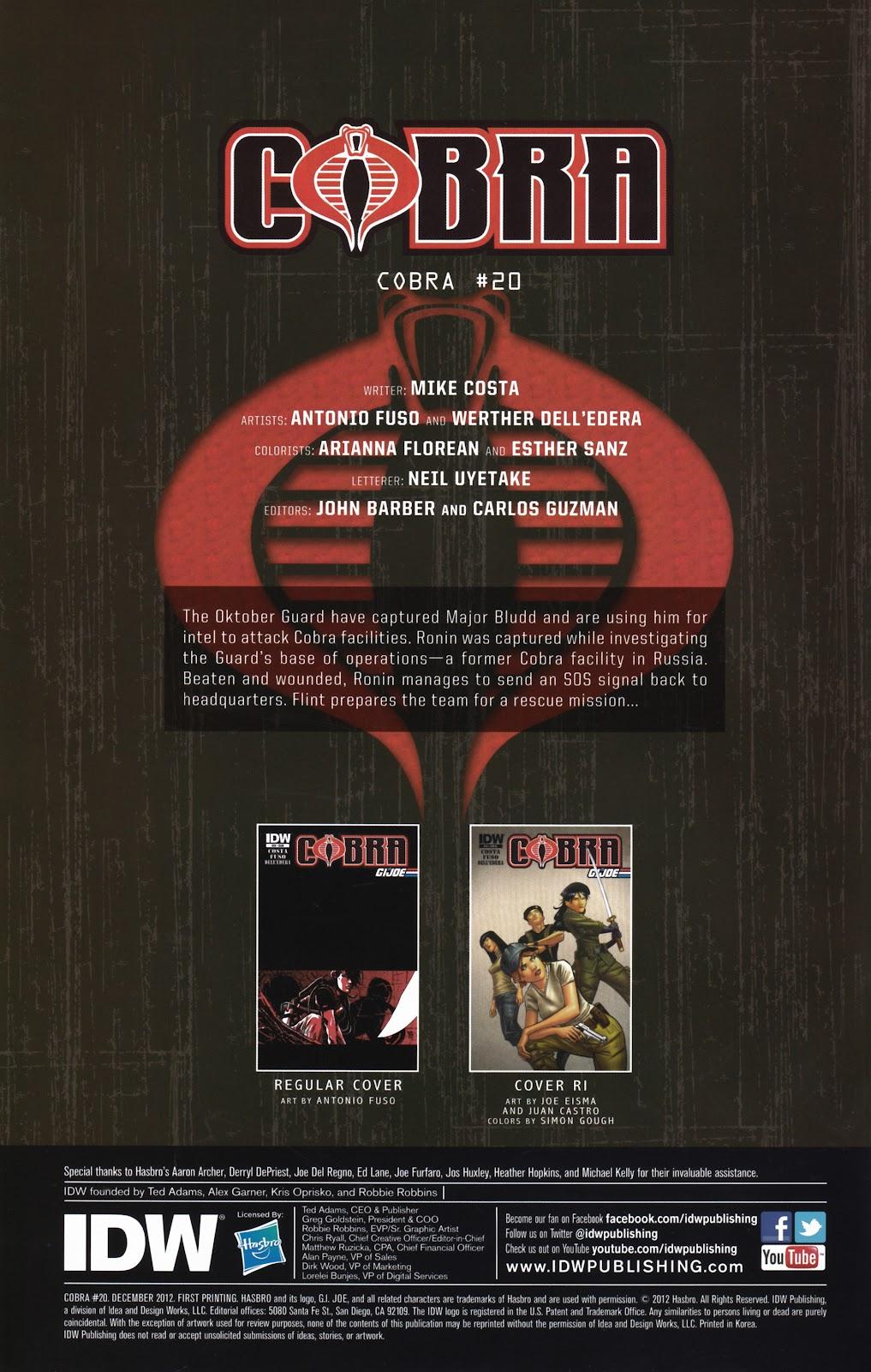 G.I. Joe Cobra (2011) Issue #20 #20 - English 2