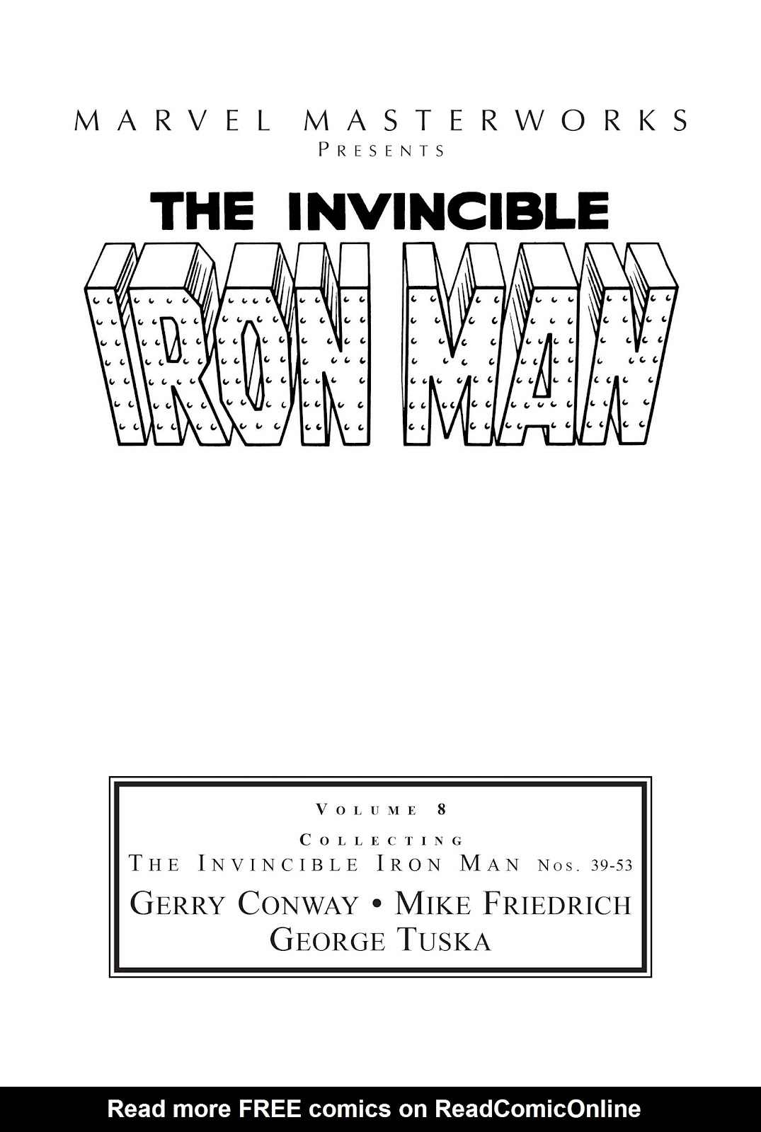Read online Marvel Masterworks: The Invincible Iron Man comic -  Issue # TPB 8 (Part 1) - 2