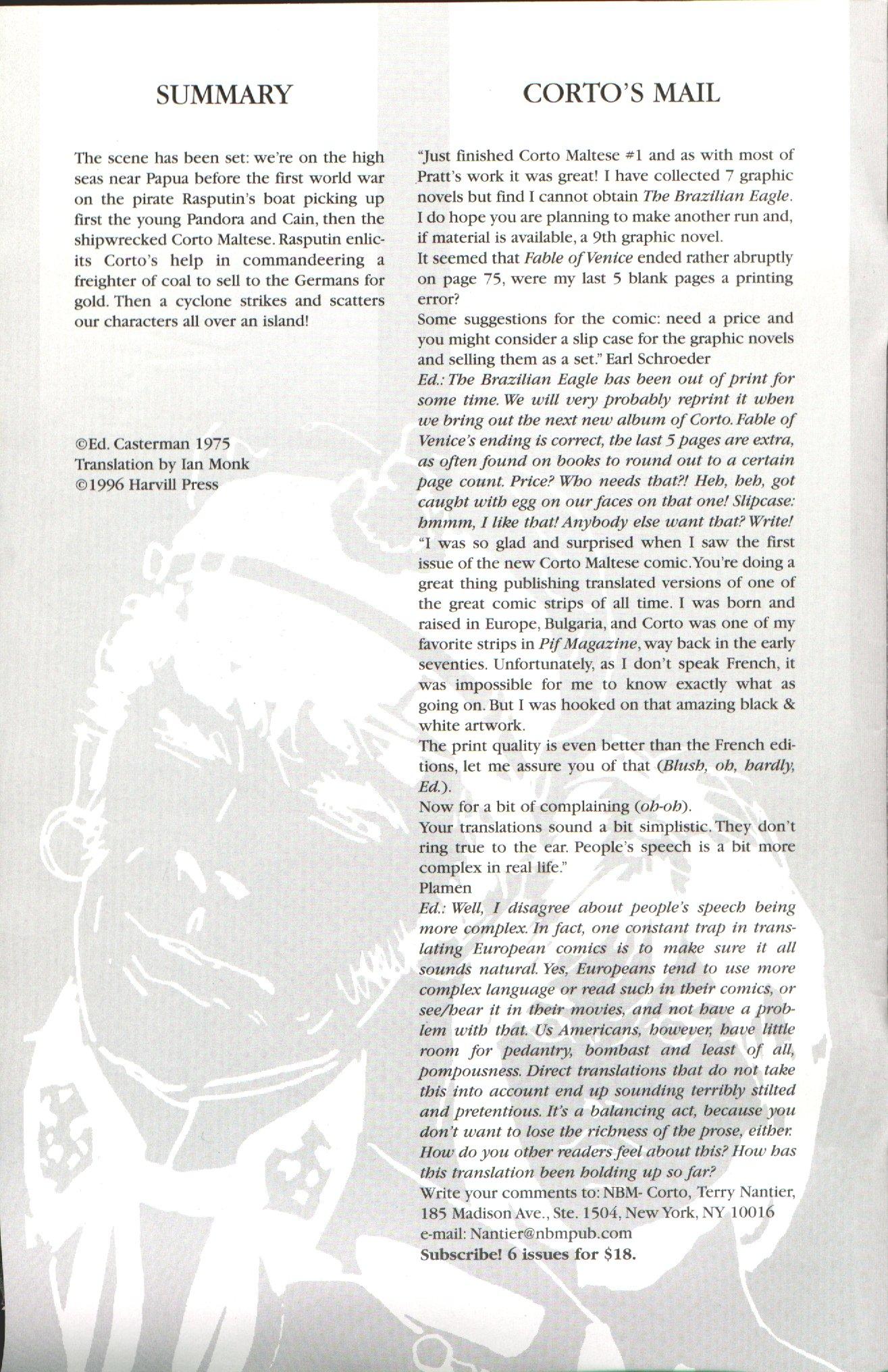 Read online Corto Maltese: Ballad of the Salt Sea comic -  Issue #2 - 2