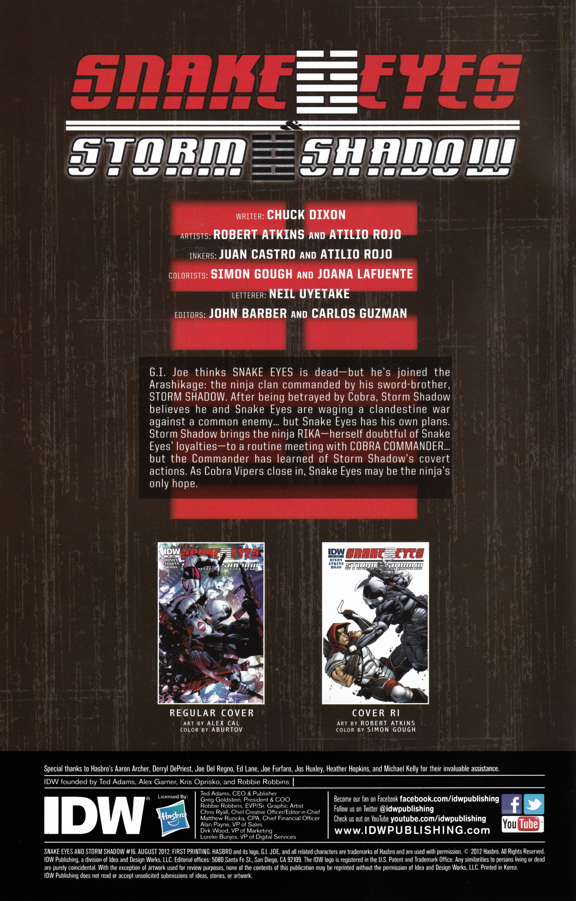 Read online Snake Eyes and Storm Shadow comic -  Issue #16 - 2