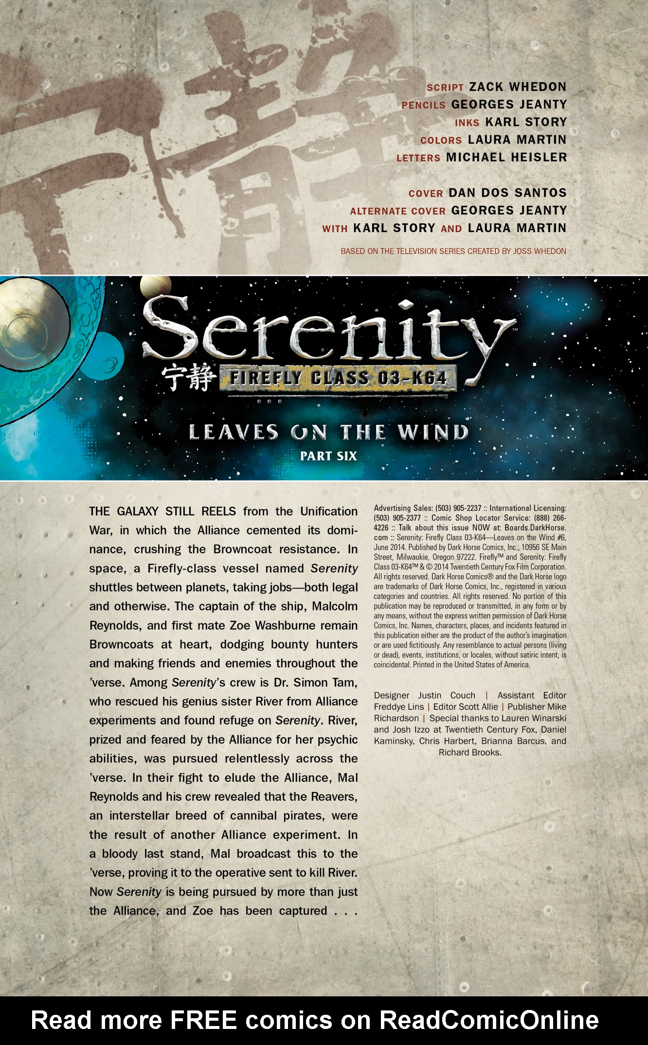 Read online Serenity: Firefly Class 03-K64  Leaves on the Wind comic -  Issue #6 - 2