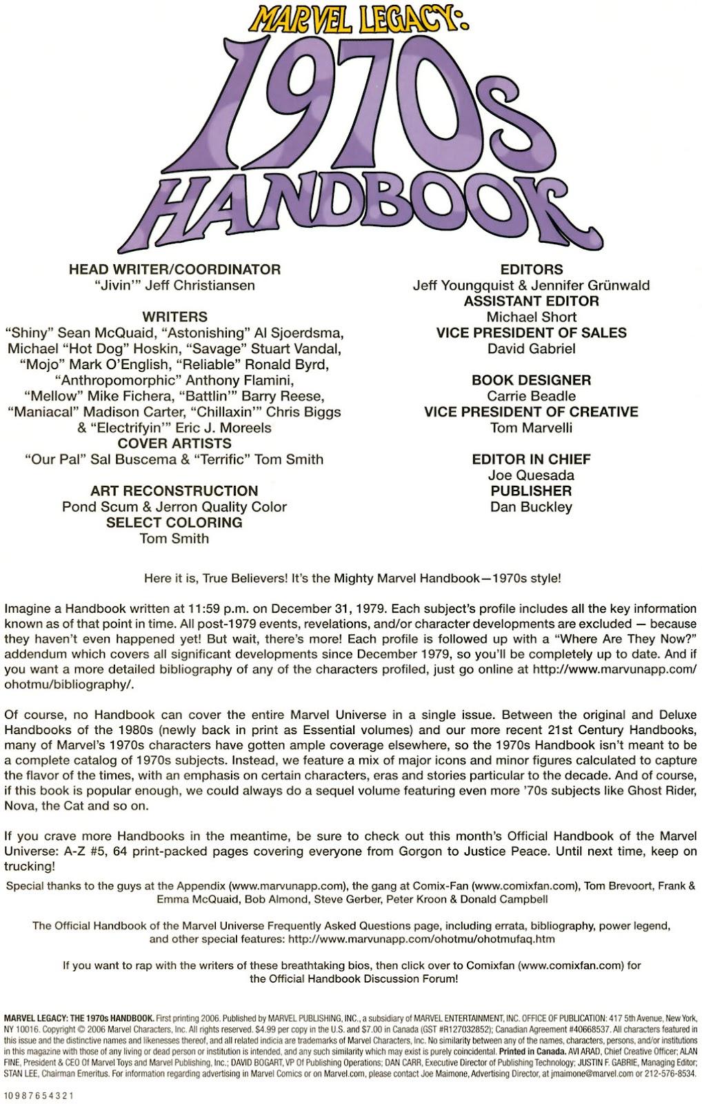 Read online Marvel Legacy: The 1970's Handbook comic -  Issue # Full - 2