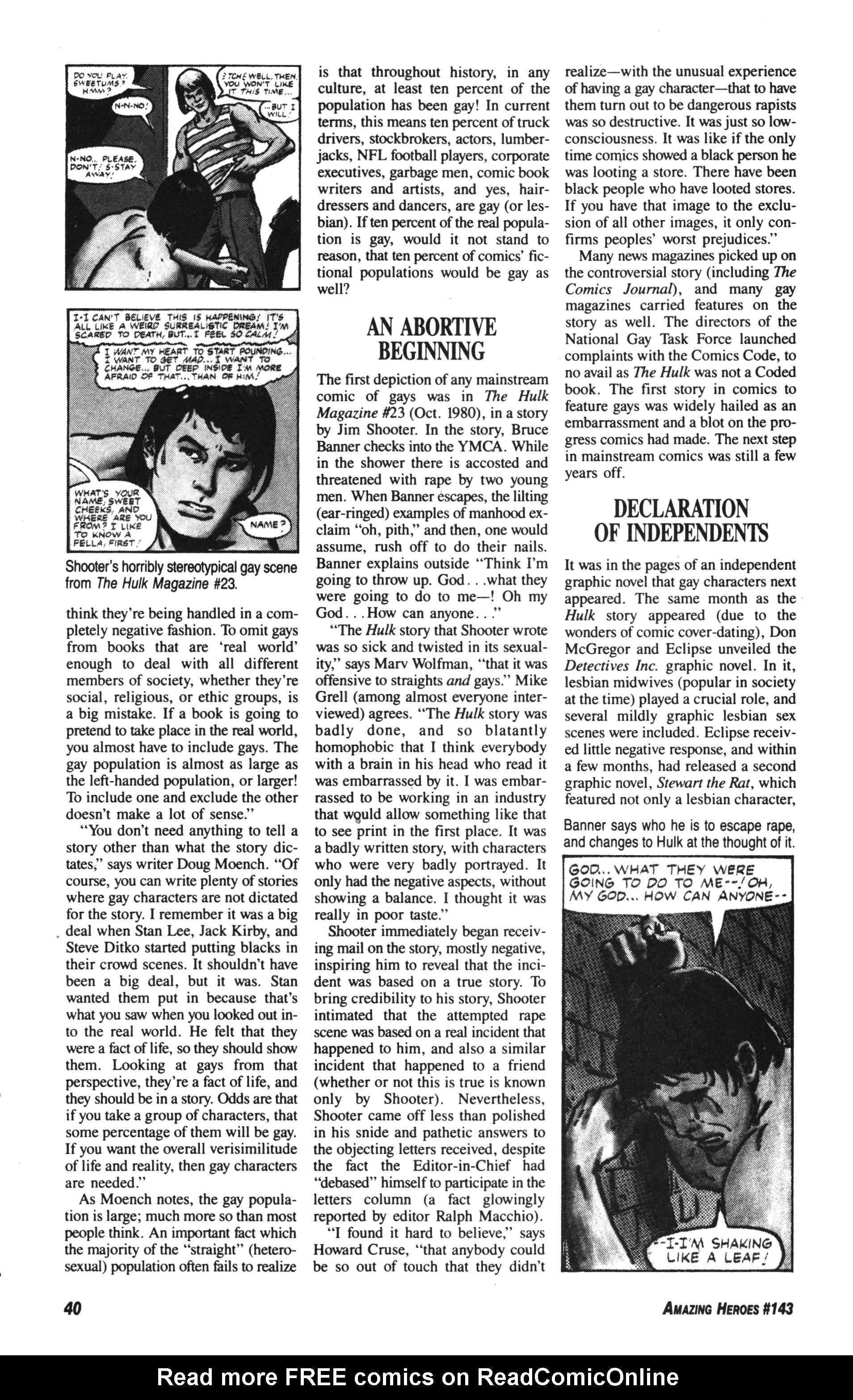 Read online Amazing Heroes comic -  Issue #143 - 40