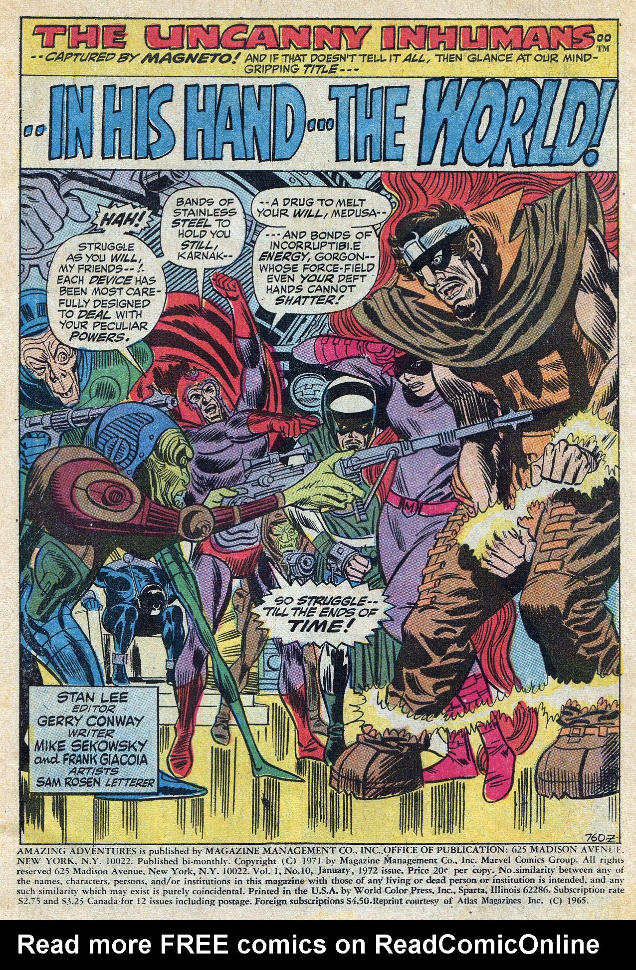 Read online Amazing Adventures (1970) comic -  Issue #10 - 3