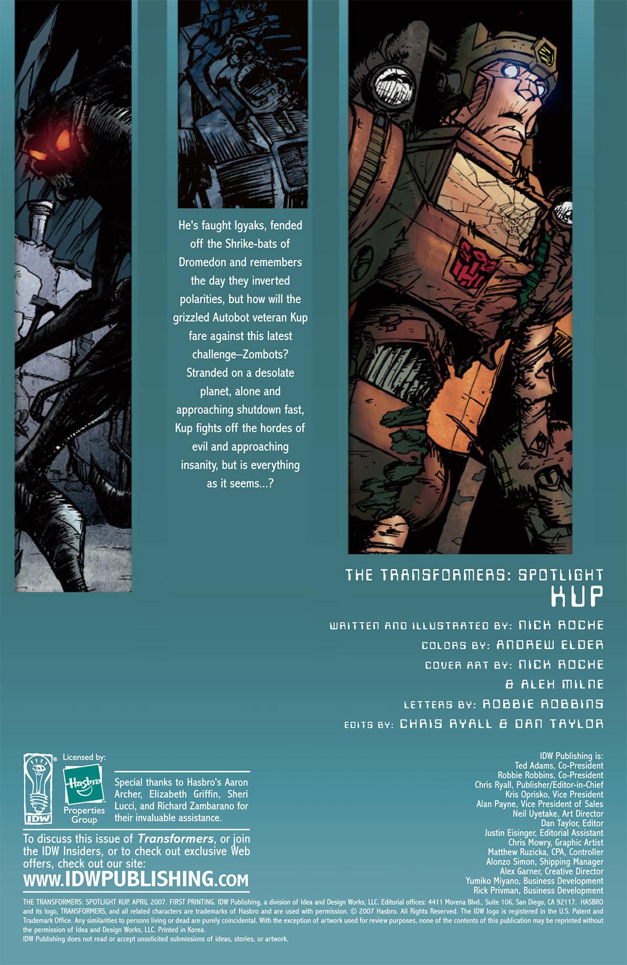 Read online Transformers Spotlight: Kup comic -  Issue # Full - 5
