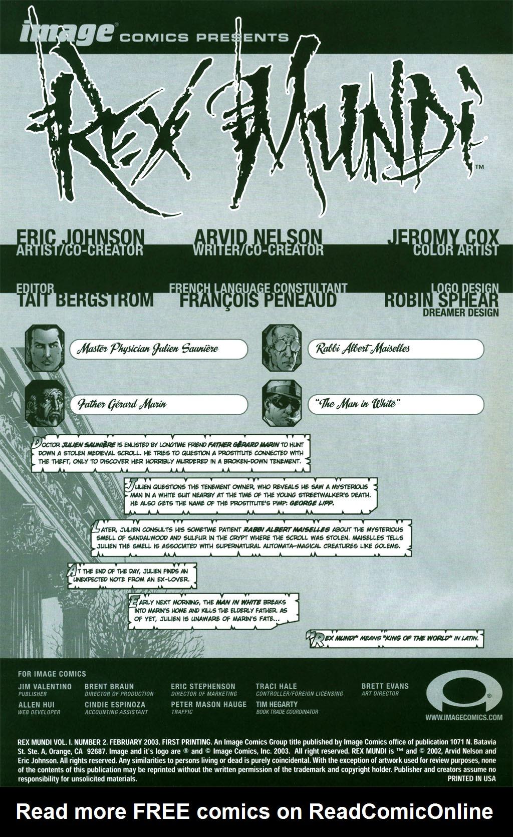 Read online Rex Mundi comic -  Issue #2 - 1