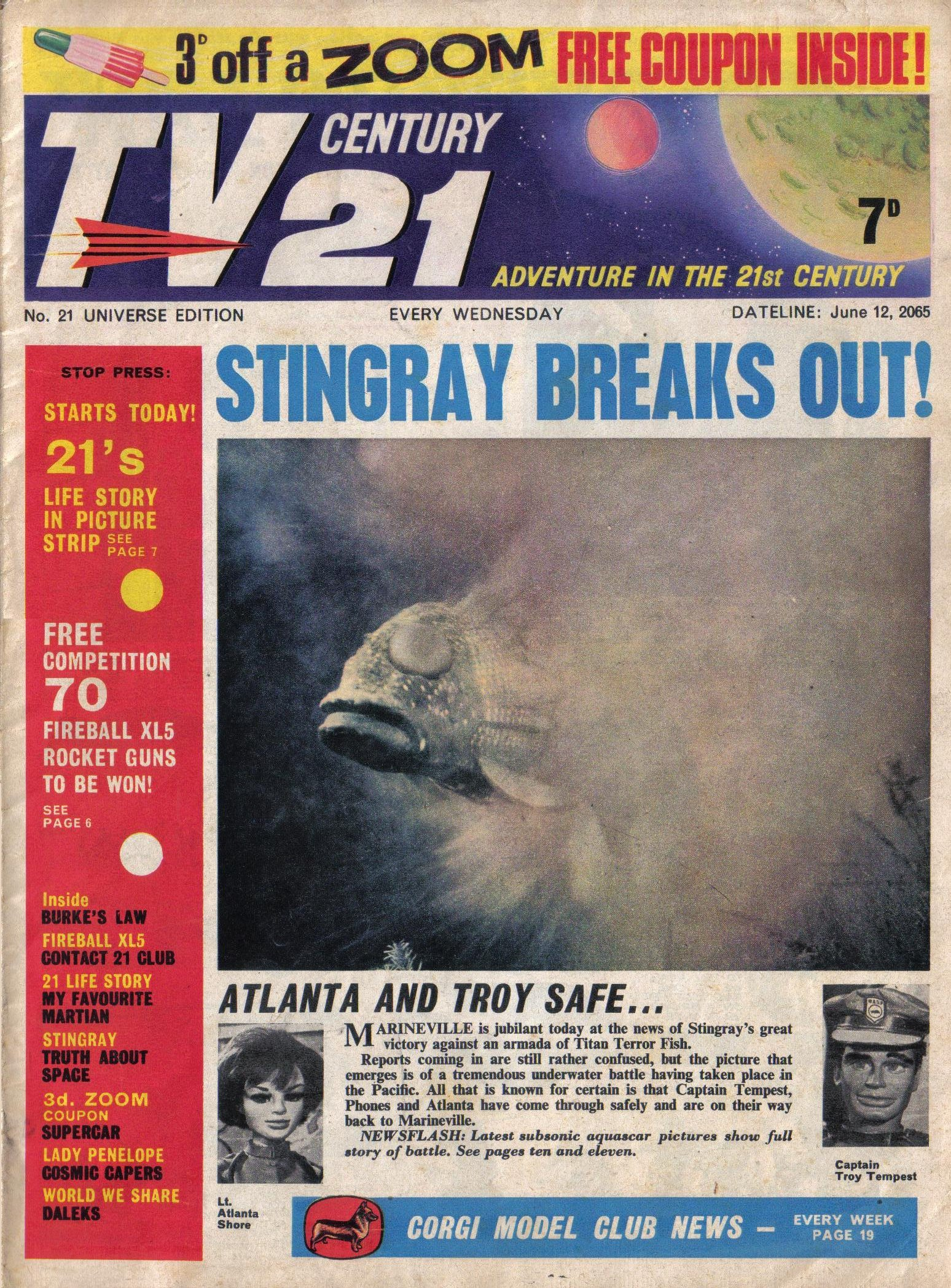 Read online TV Century 21 (TV 21) comic -  Issue #21 - 1