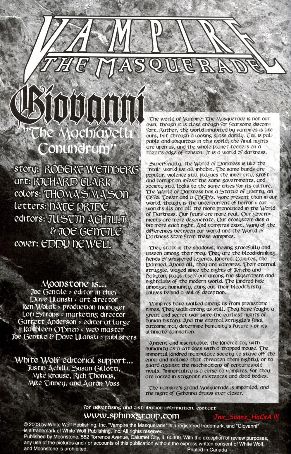 Read online Vampire the Masquerade comic -  Issue # Giovanni - 2