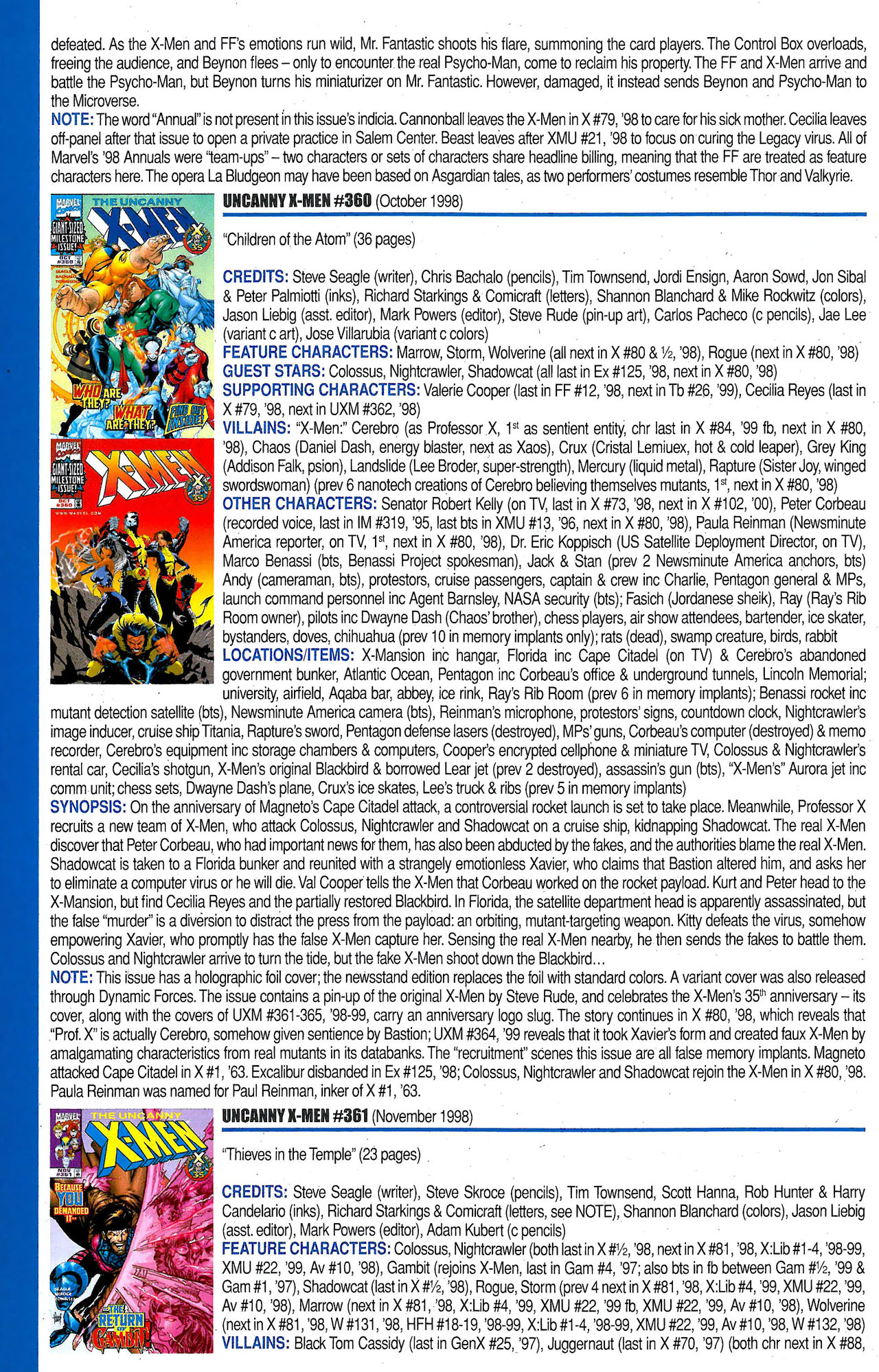 Read online Official Index to the Marvel Universe comic -  Issue #9 - 58