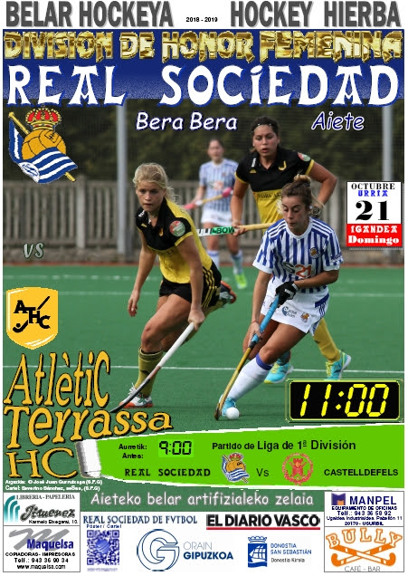 Cartel hockey 2018-10-21 Real Sociedad - ATLÈTIC Terrassa HC.