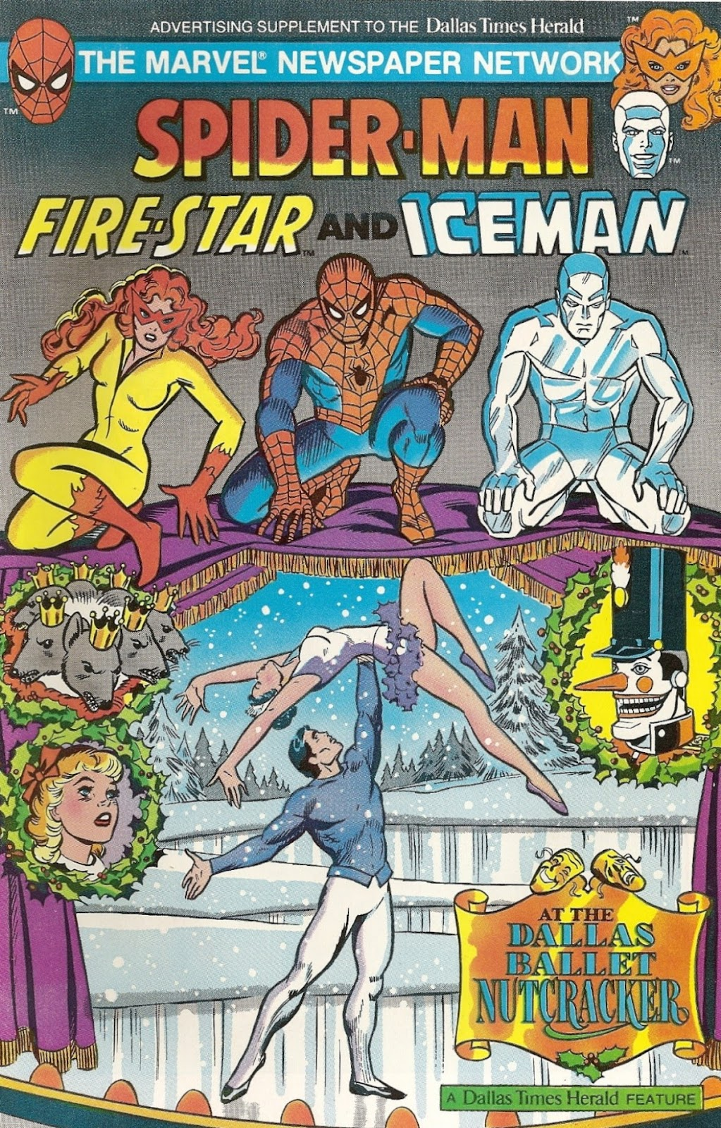 Spider-Man, Fire-Star and Iceman at the Dallas Ballet Nutcracker issue Full - Page 1