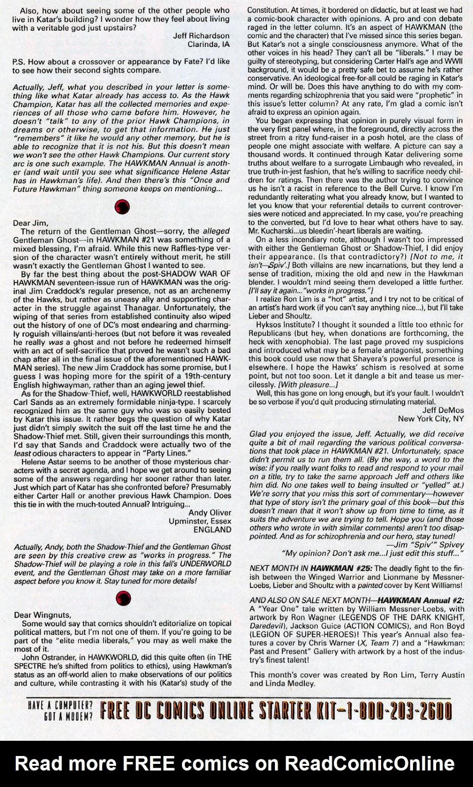Hawkman (1993) Issue #24 #27 - English 26