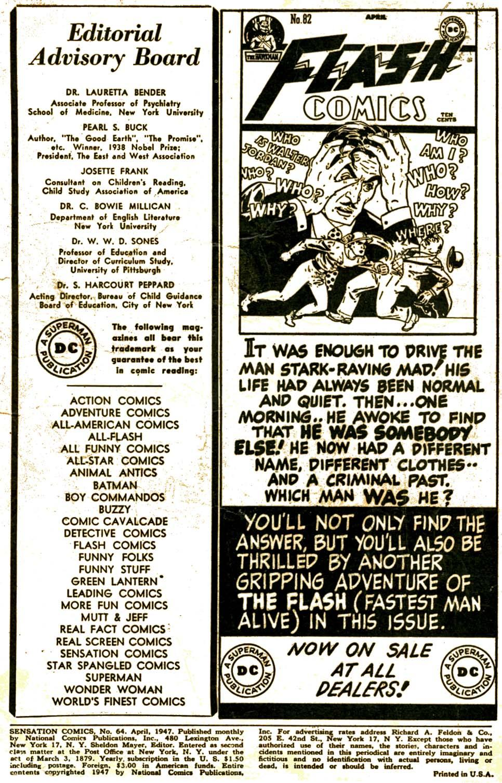 Read online Sensation (Mystery) Comics comic -  Issue #64 - 2