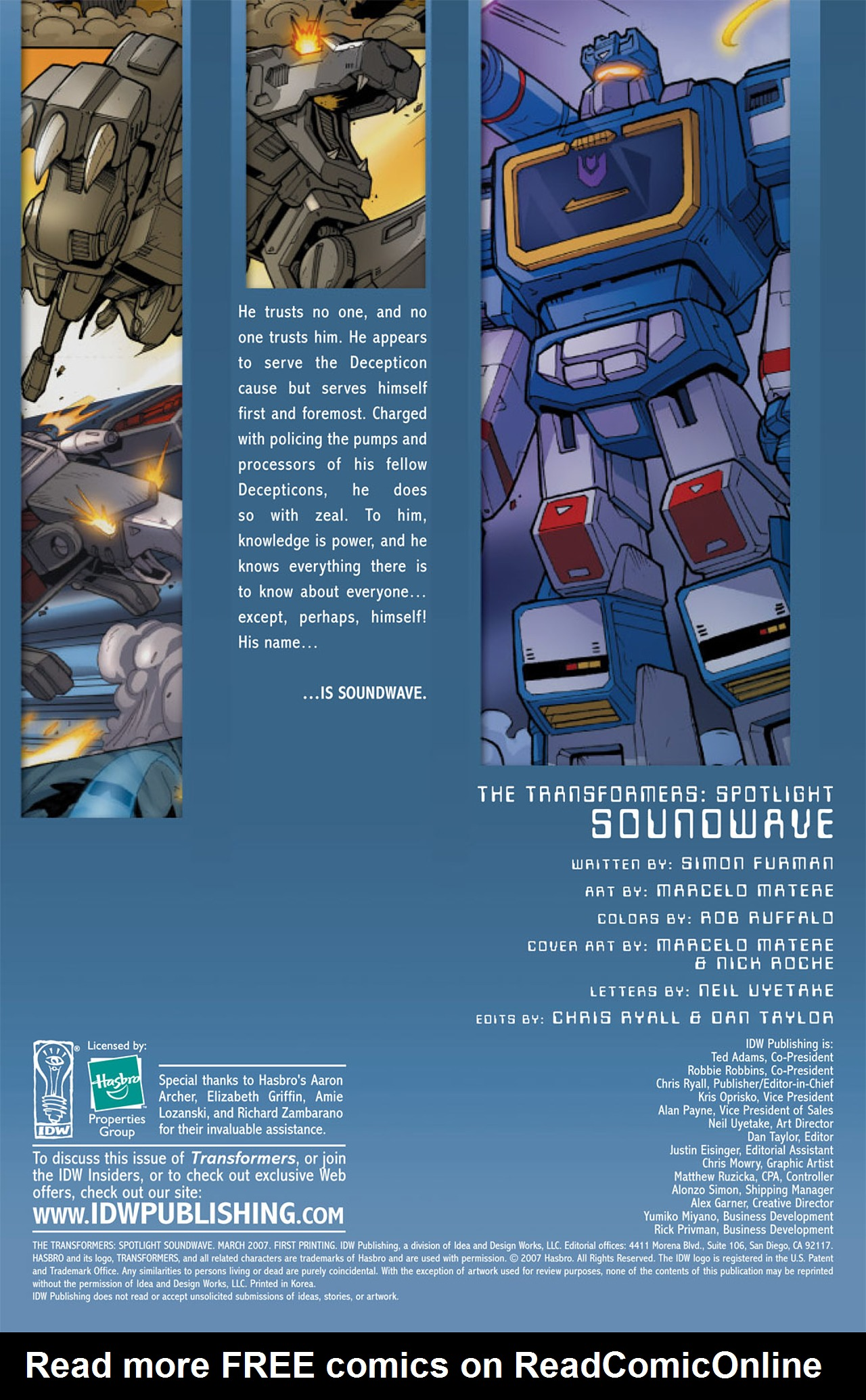 Read online Transformers Spotlight: Soundwave comic -  Issue # Full - 2