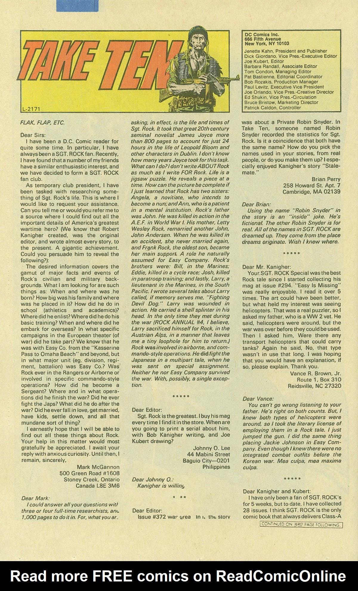 Read online Sgt. Rock comic -  Issue #408 - 21