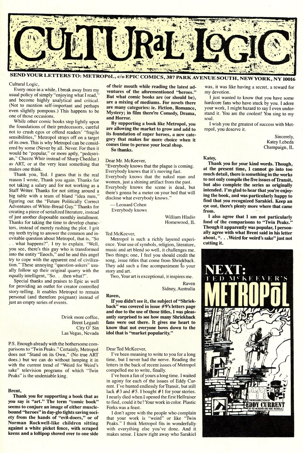 Read online Ted McKeever's Metropol comic -  Issue #10 - 31