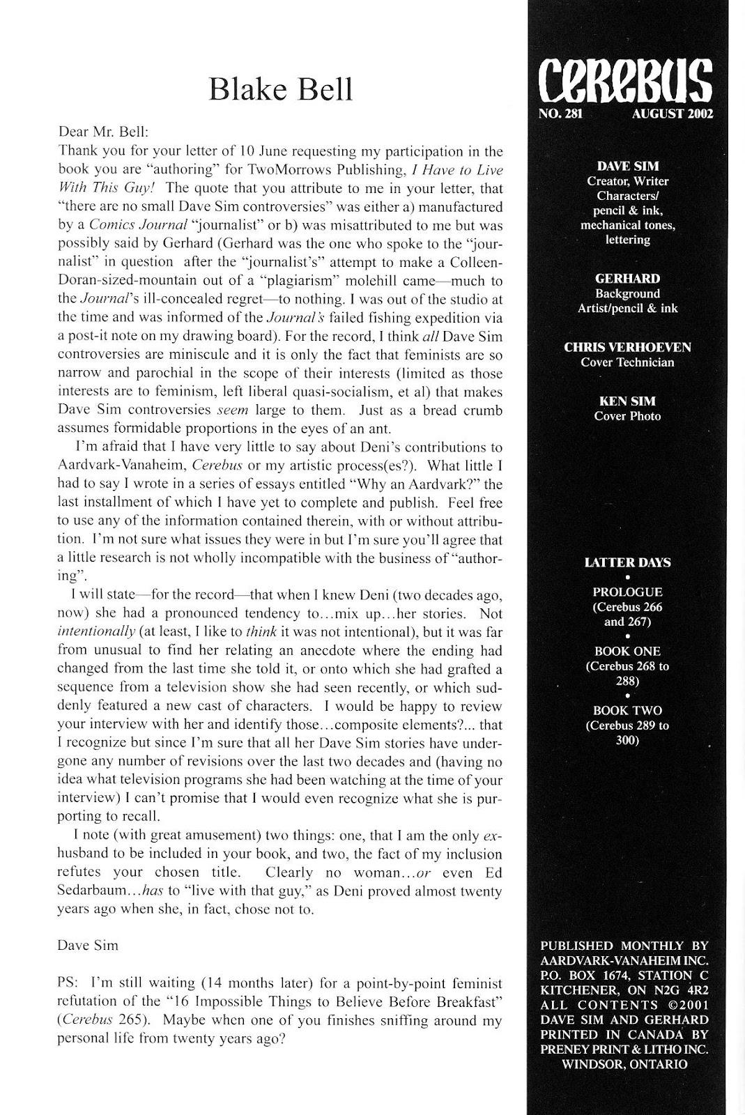 Cerebus Issue #281 #280 - English 2